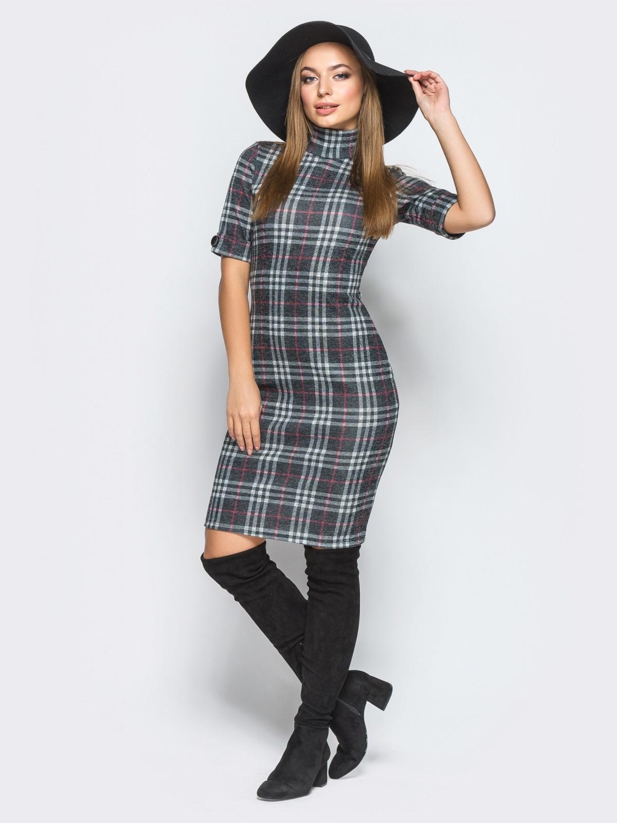 Облегающее платье в клетку с воротником - 18250, фото 1 – интернет-магазин Dressa