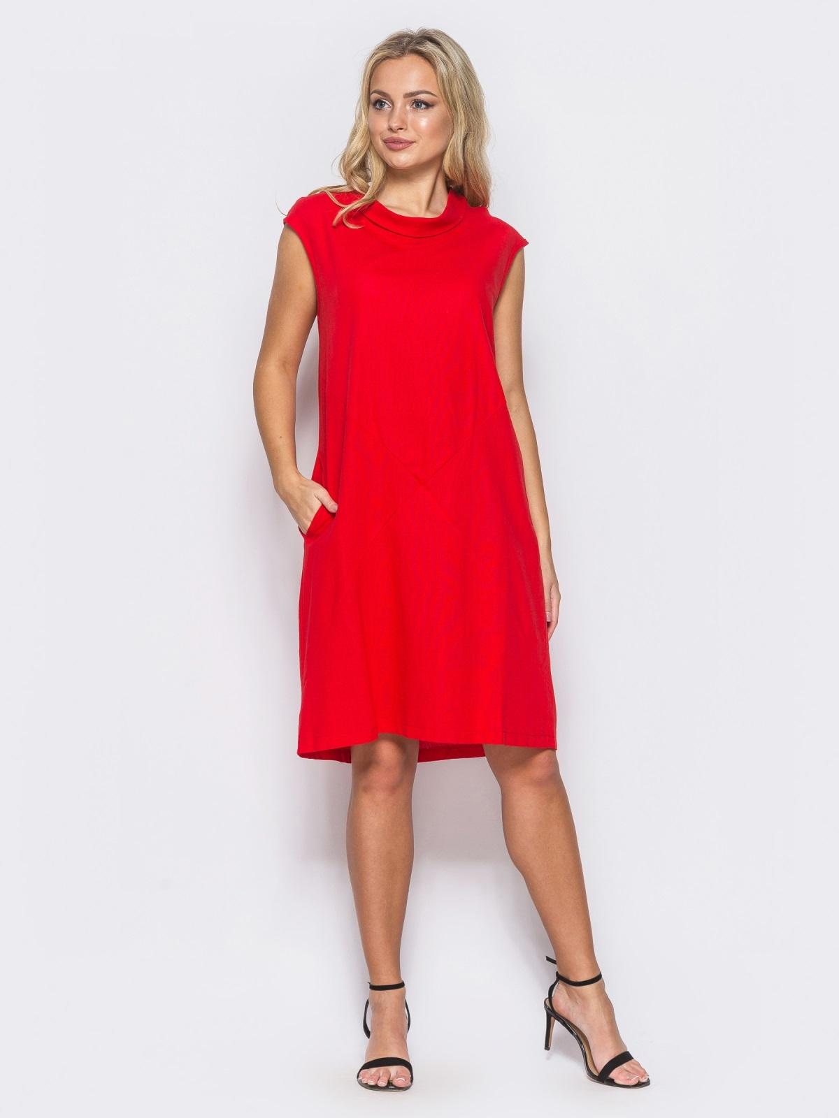 f67f6f3588d Красное платье из льна прямого кроя с карманами в боковых швах 11133 ...