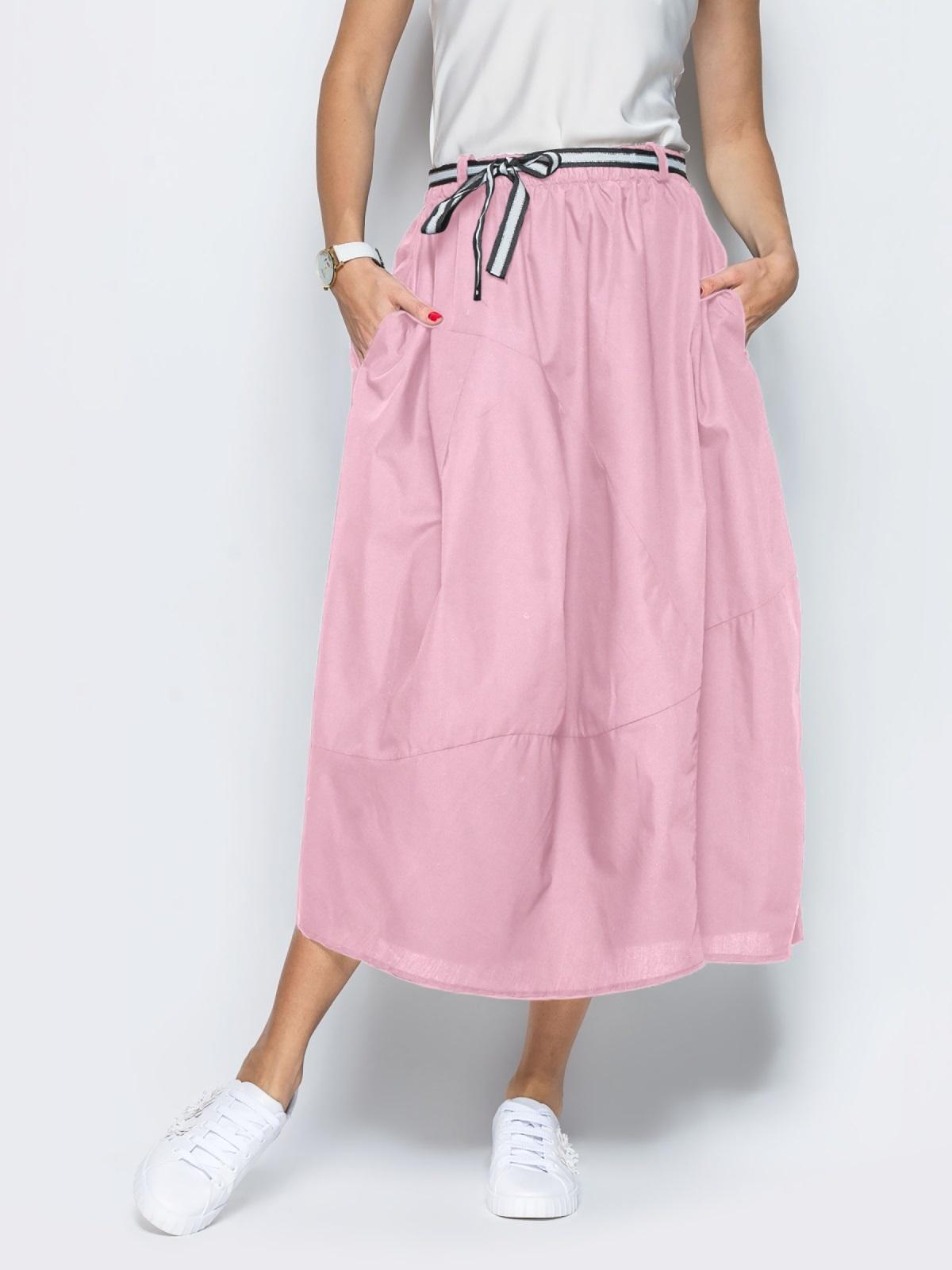 Льняная юбка розового цвета с карманами - 39380, фото 1 – интернет-магазин Dressa