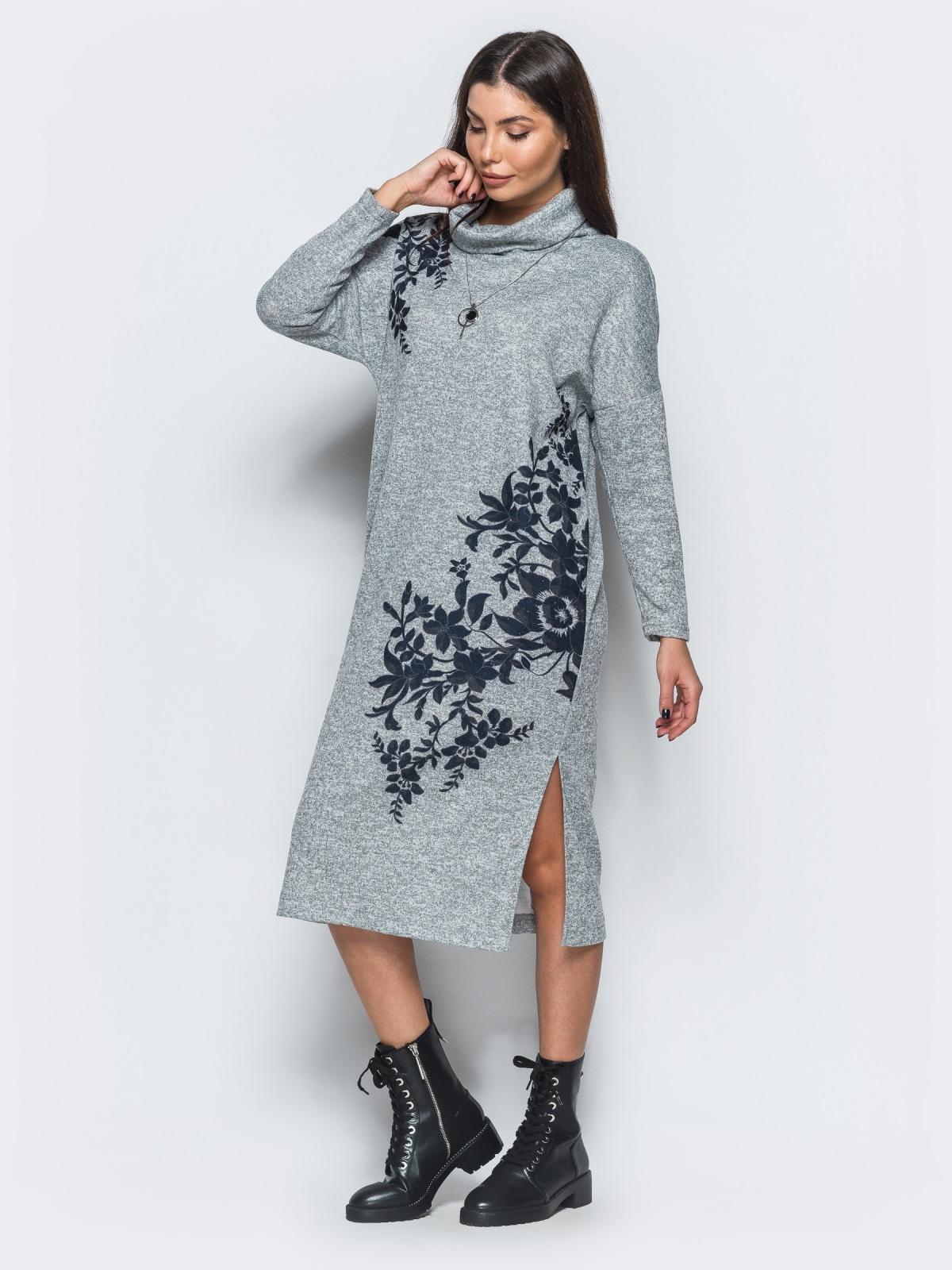 Меланжевое платье серого цвета в стиле oversize - 17595, фото 1 – интернет-магазин Dressa
