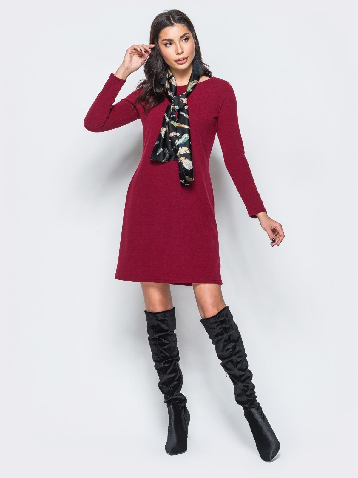Платье бордового цвета из ангоры без застёжек - 17590, фото 1 – интернет-магазин Dressa