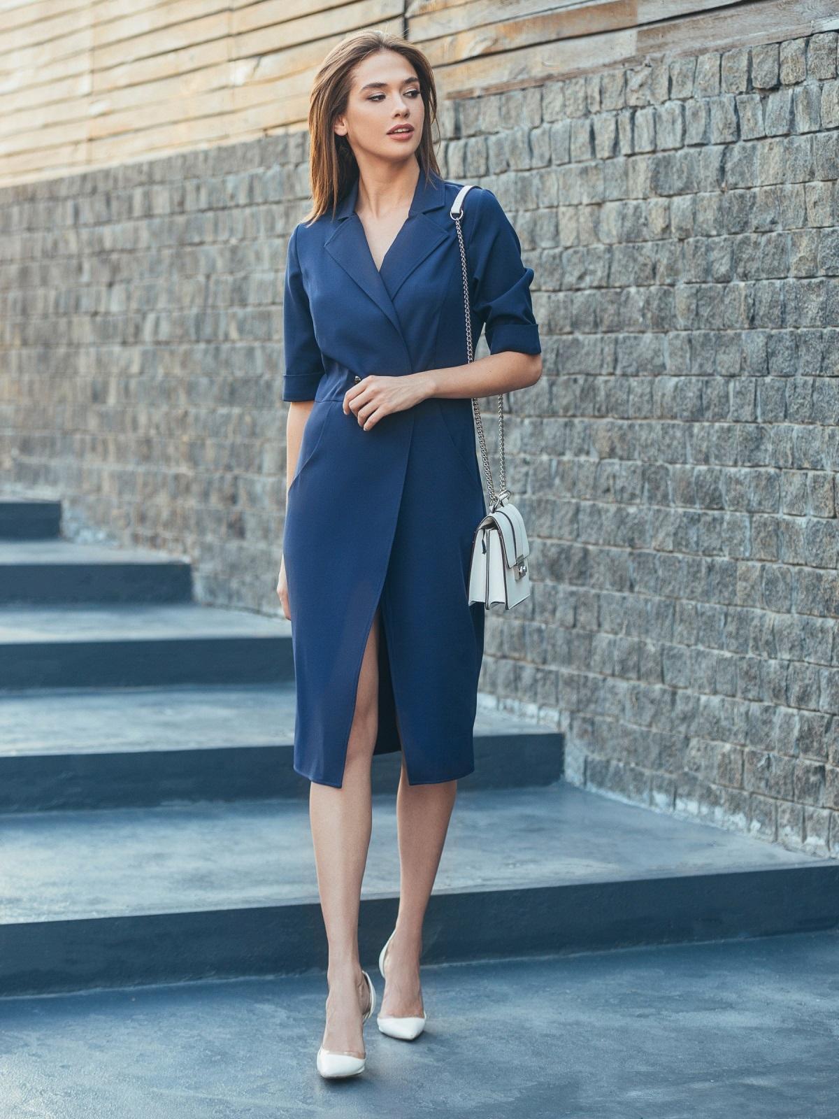 Тёмно-синее платье с высоким разрезом спереди - 16908, фото 1 – интернет-магазин Dressa