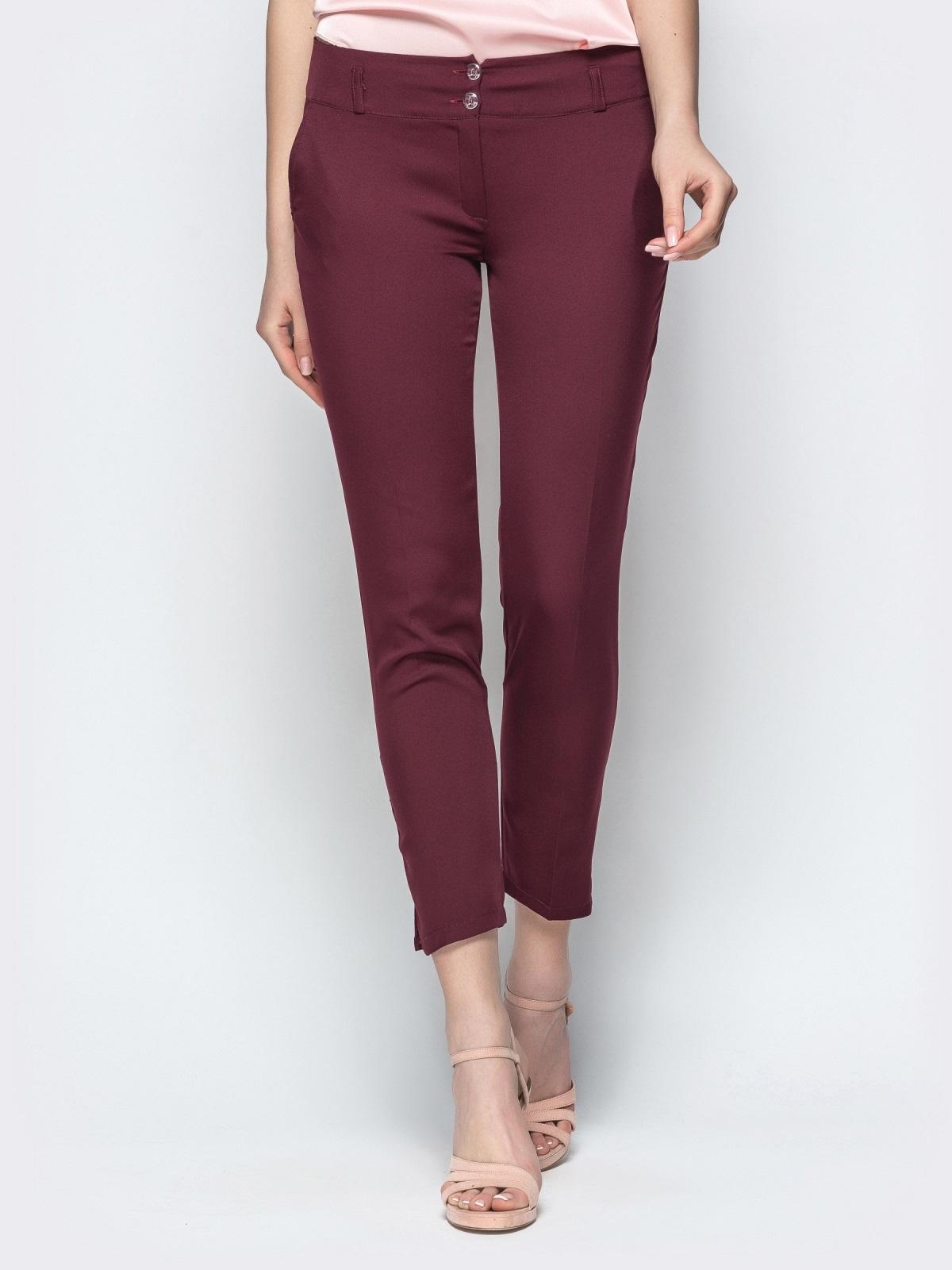 Укороченные брюки-дудочки бордового цвета - 21867, фото 1 – интернет-магазин Dressa