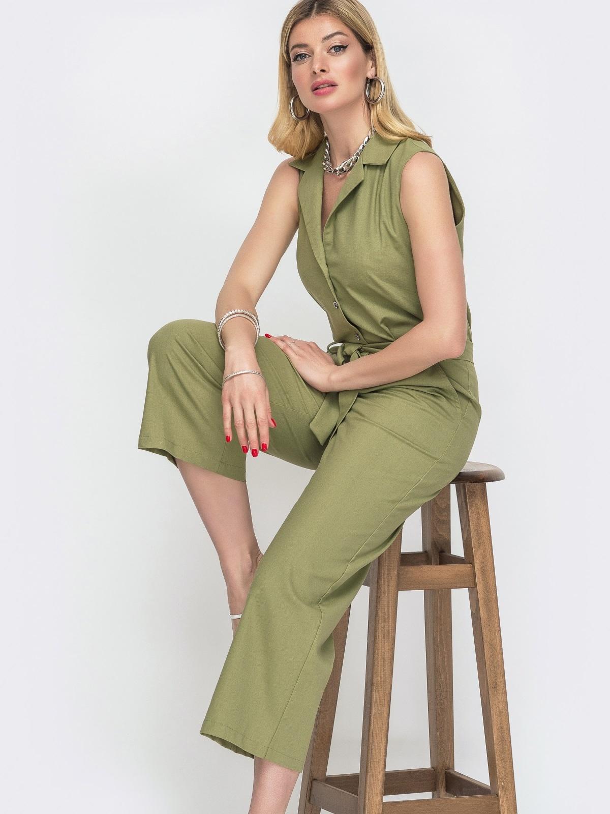 Комбинезон с укороченными брюками цвета хаки 48456, фото 1