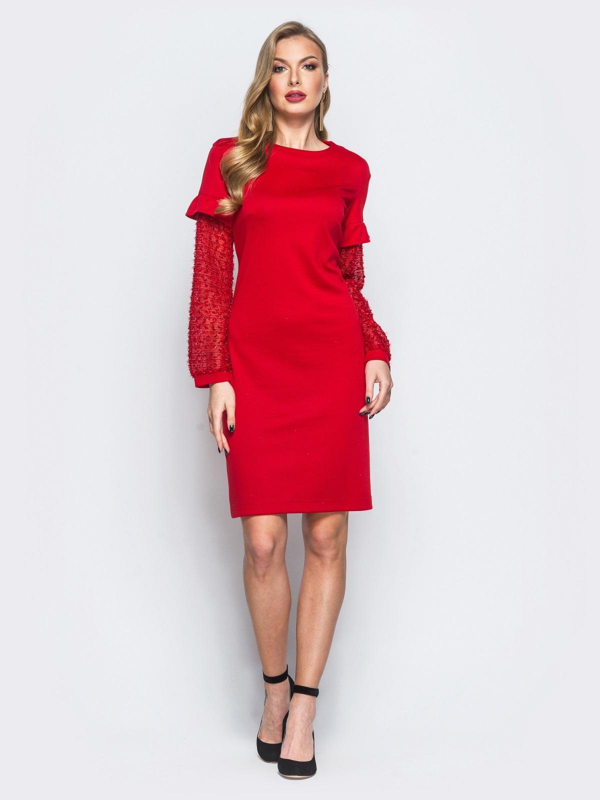 """Платье красного цвета с """"травкой"""" на рукавах - 17963, фото 1 – интернет-магазин Dressa"""