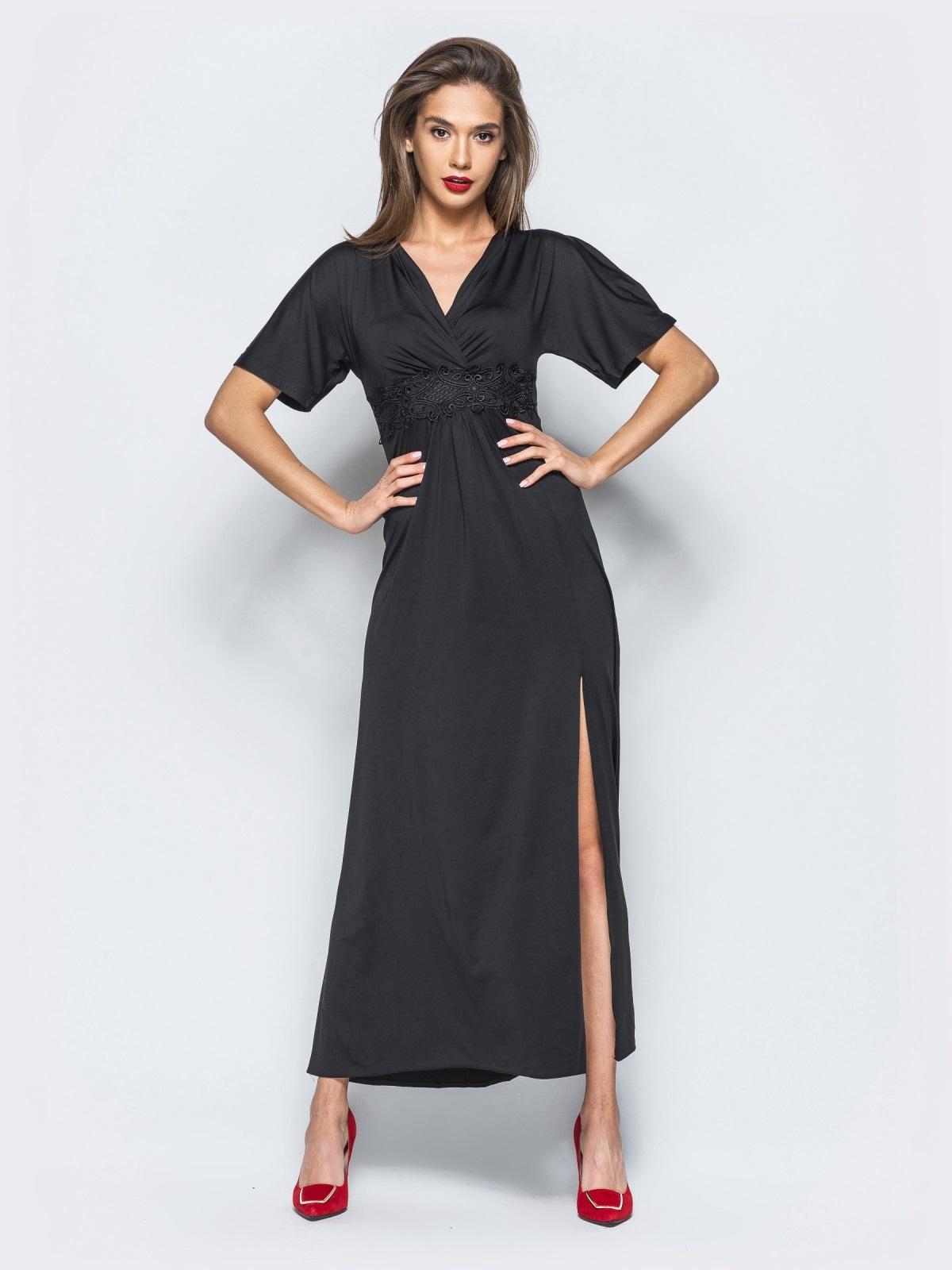 Трикотажное платье с высоким разрезом черное - 17908, фото 1 –  интернет-магазин Dressa adfb2363919