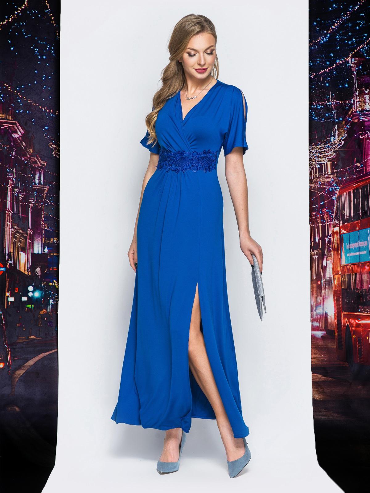 Трикотажное платье с высоким разрезом синее - 17911, фото 1 –  интернет-магазин Dressa 130d1bdeeca