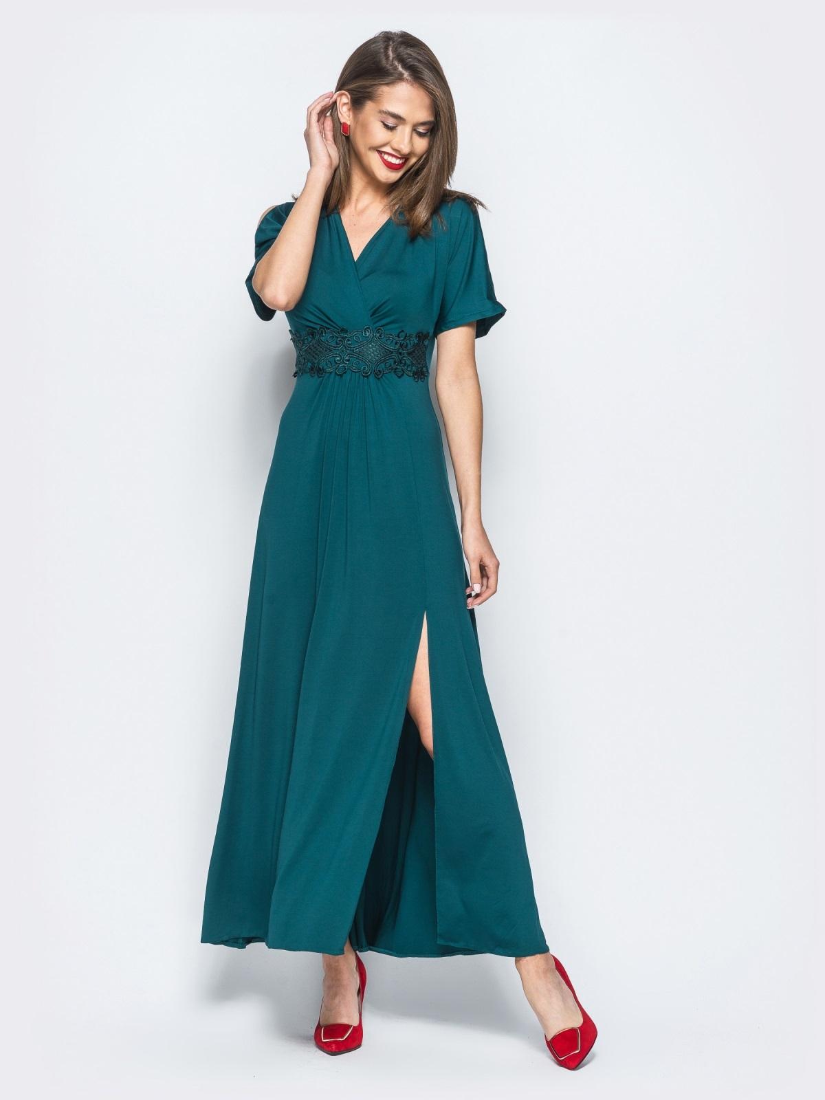 Трикотажное платье с высоким разрезом зелёное - 17910, фото 1 –  интернет-магазин Dressa 6263a03b23d