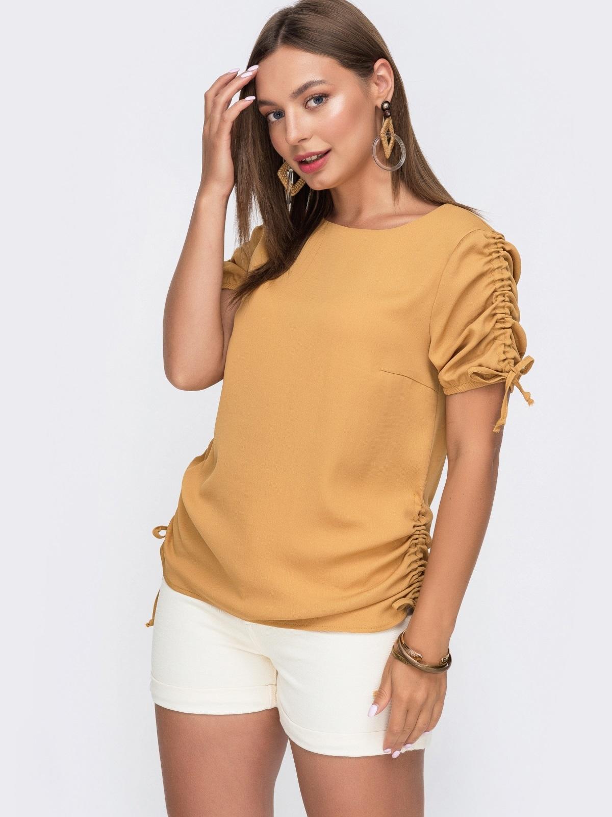 Желтая блузка прямого кроя с кулиской по бокам 49115, фото 1