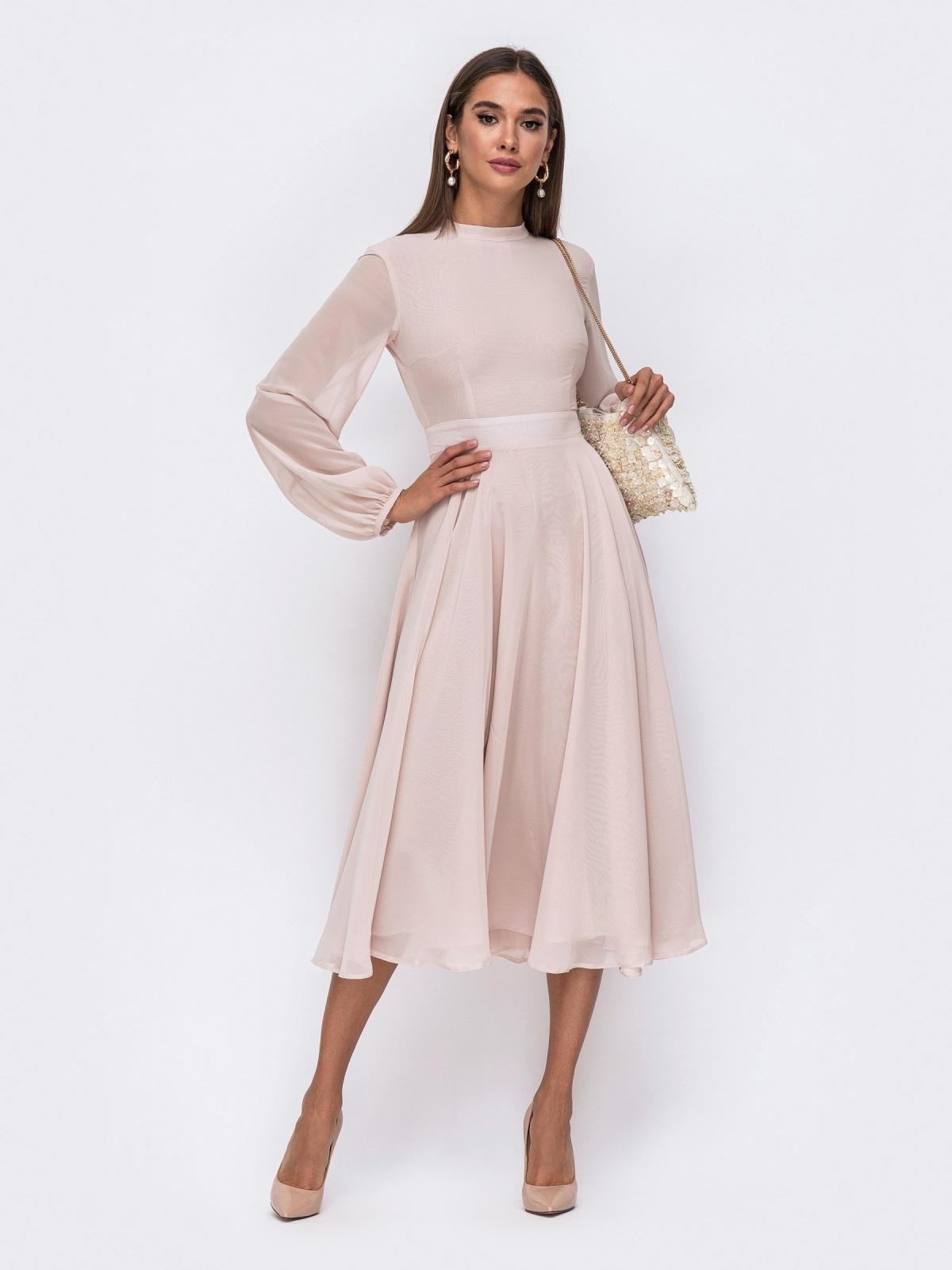 Платье с открытой спиной и юбкой-солнце бежевое 50087, фото 1