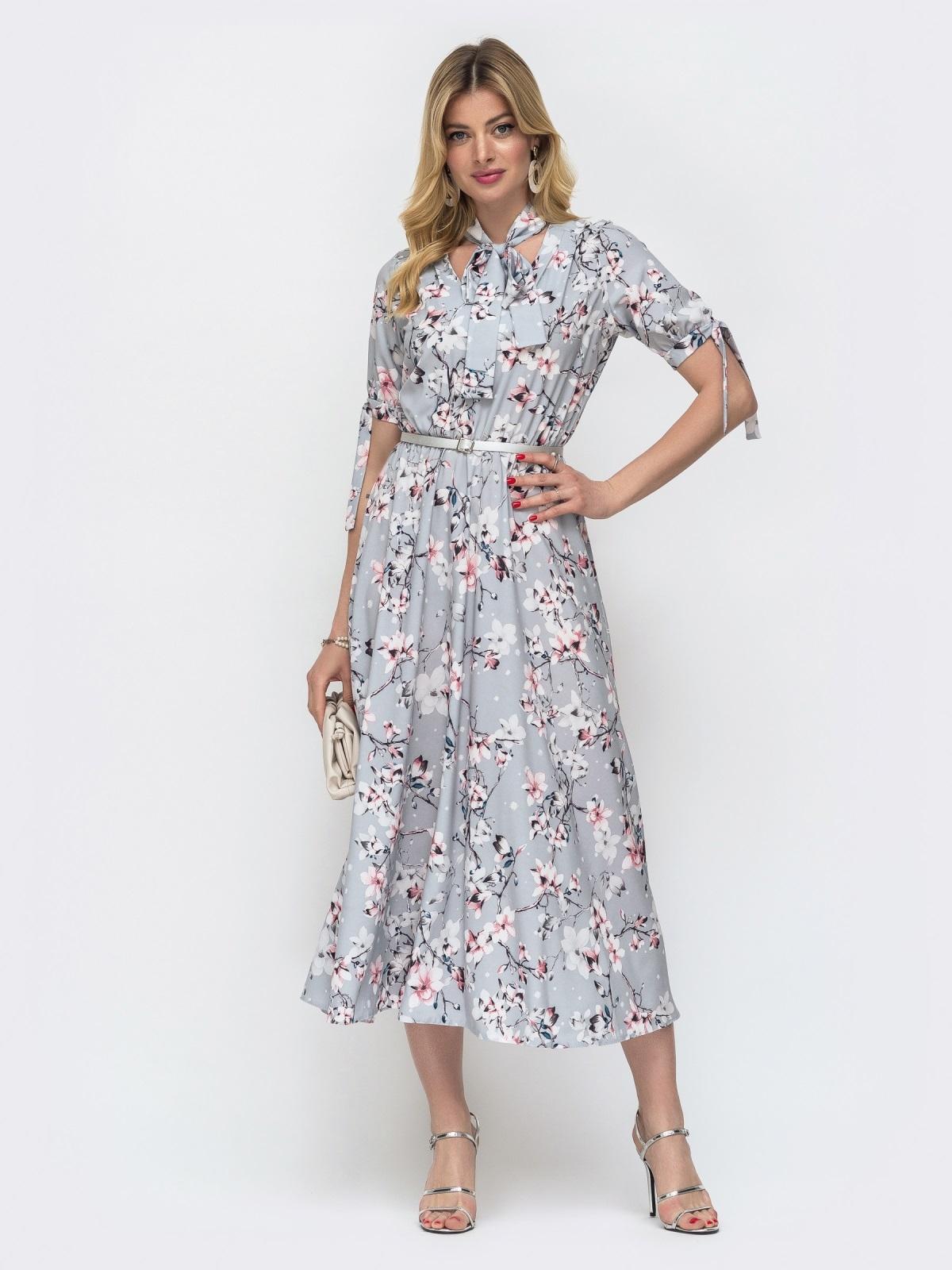 """Серое платье с резинкой в поясе и воротником """"аскот"""" 48530, фото 3"""