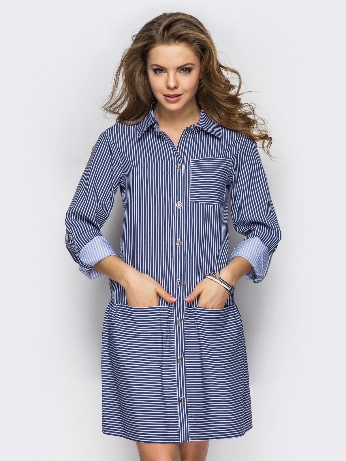 Хлопковое платье-рубашка в полоску с карманами серое - 13589, фото 1 – интернет-магазин Dressa