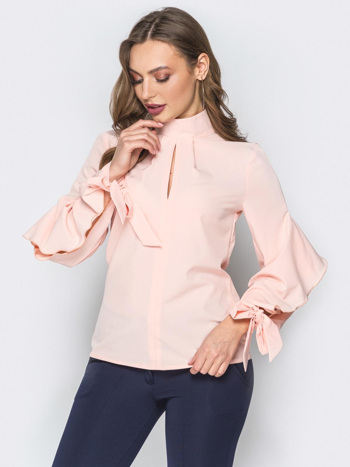 Розовая блузка с завязками на рукавах 19417, фото 1