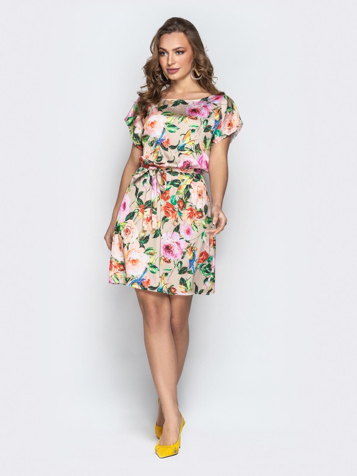 de98aa9ceb1 Шелковое платье с цветочным принтом и поясом бежевое 20760 – купить ...