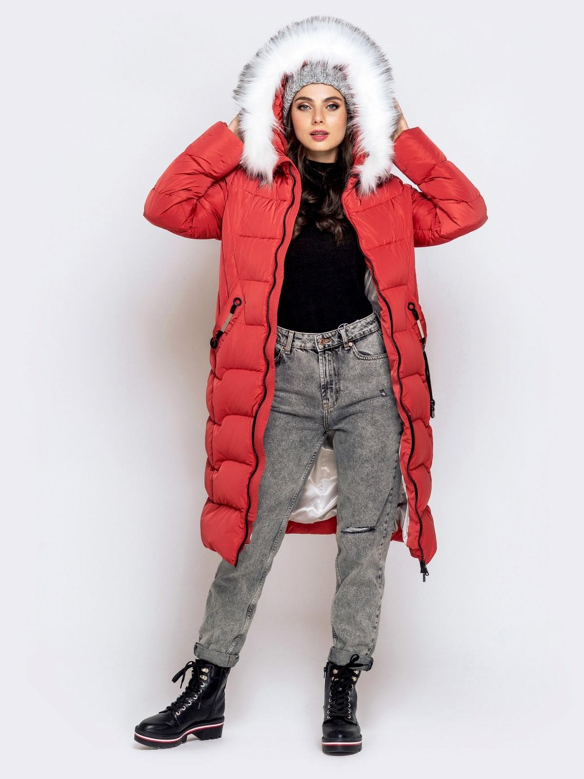 Длинная куртка со съемным капюшоном коралловая - 40161, фото 1 – интернет-магазин Dressa