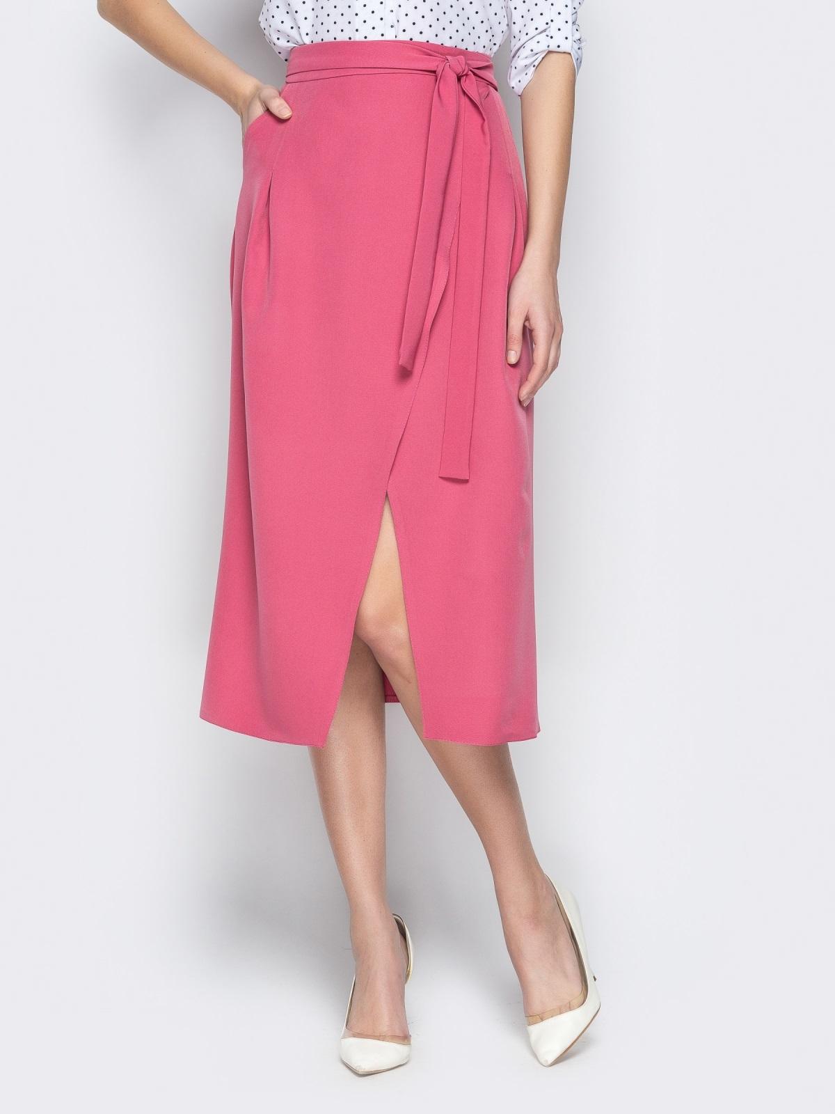 Розовая юбка-миди с запахом - 20947, фото 1 – интернет-магазин Dressa
