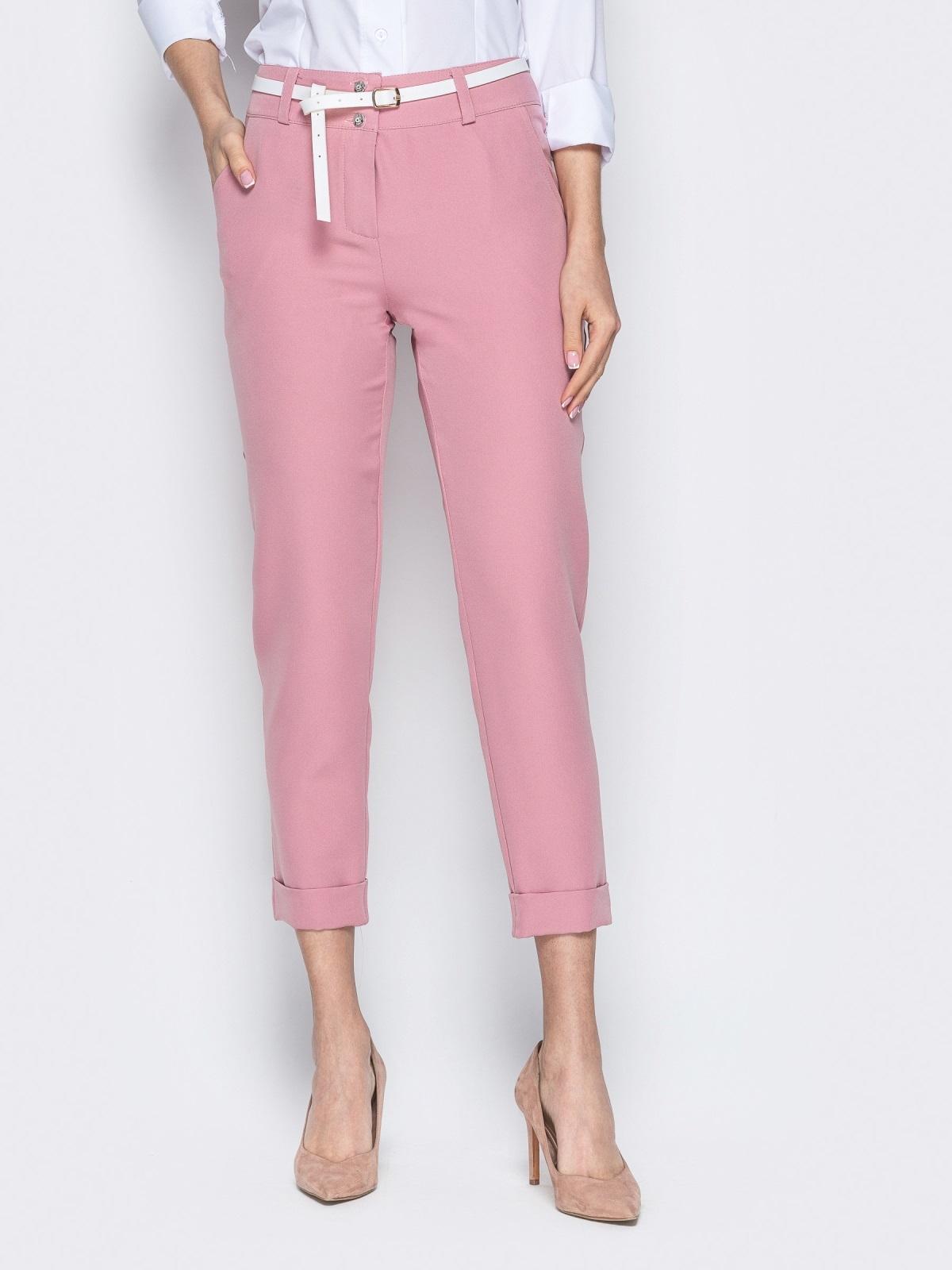Укороченные брюки розового цвета с подворотами 20941, фото 1