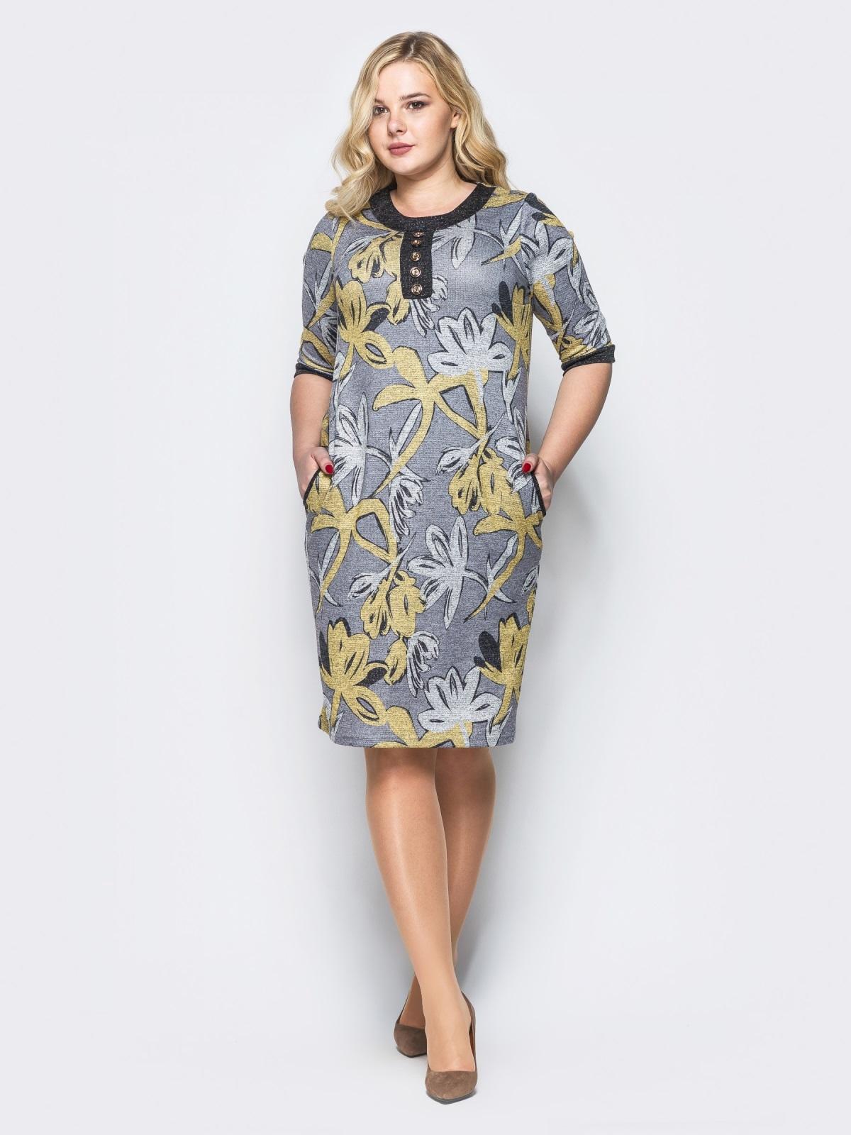 Платье из трикотажа «ангора» с нитью люрекса серое - 16675, фото 1 – интернет-магазин Dressa