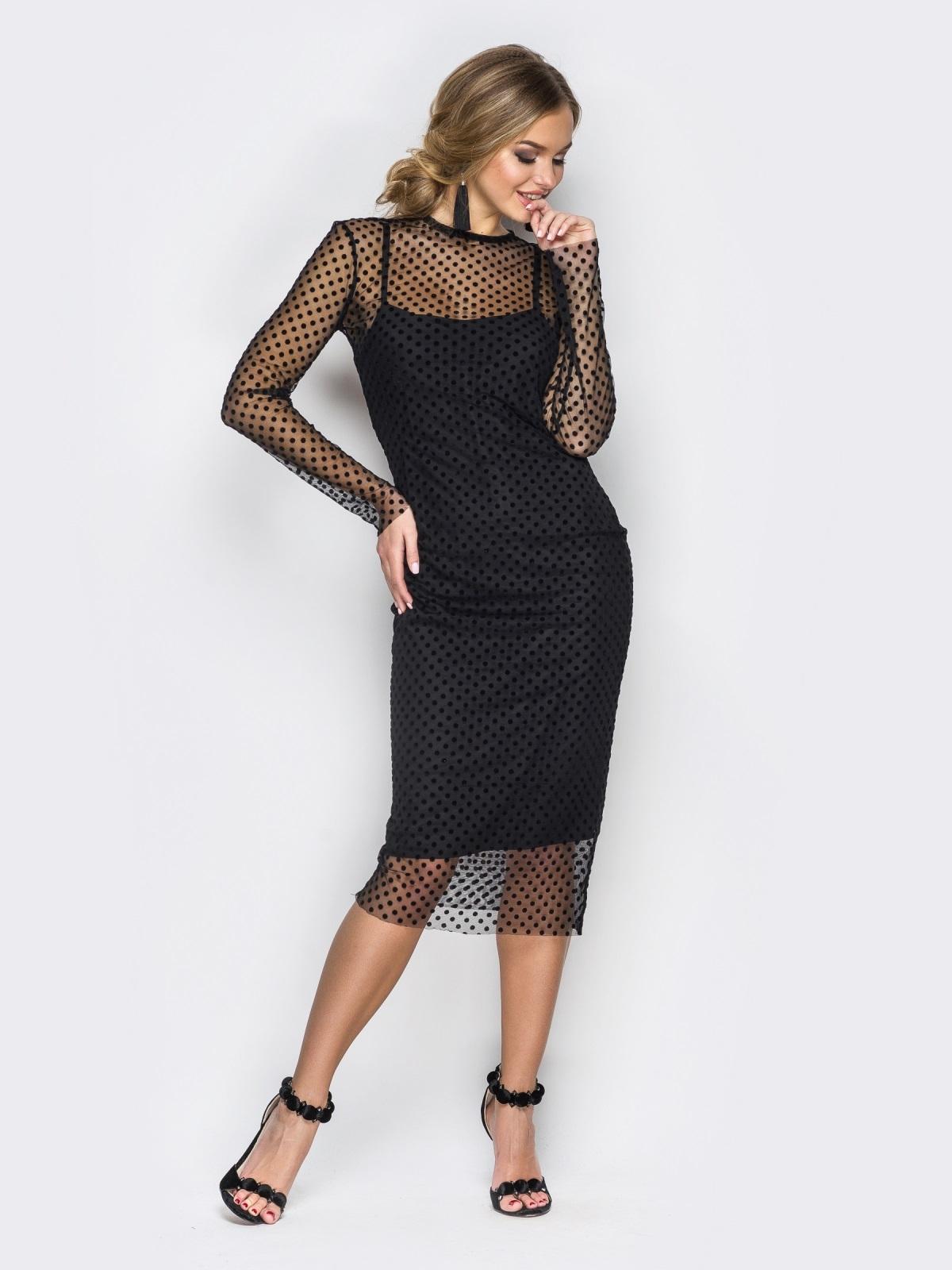 Платье-комбинация черного цвета с фактурным фатином - 17764, фото 1 – интернет-магазин Dressa