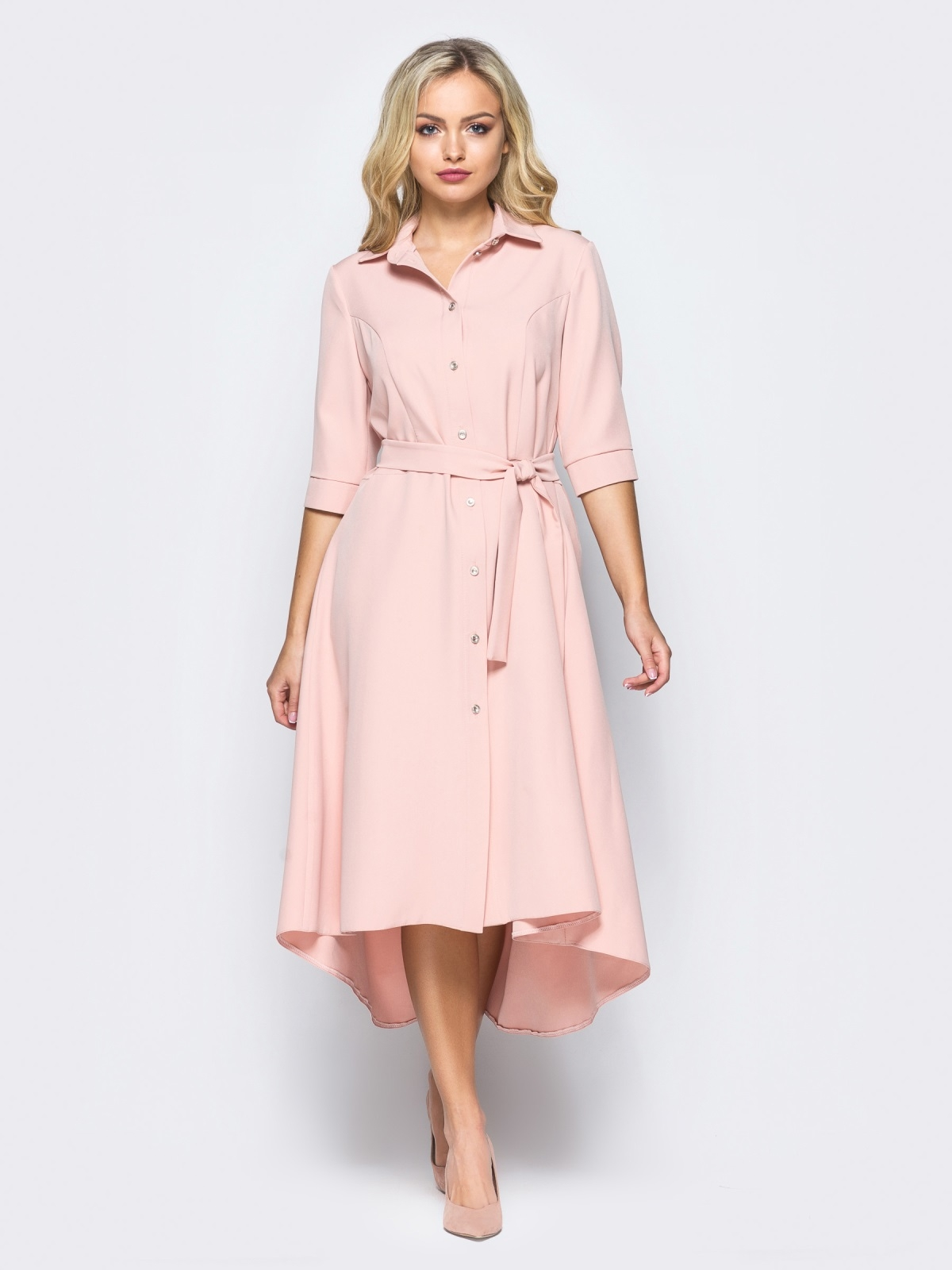 Платье-рубашка розового цвета со шлейфом 16446, фото 1