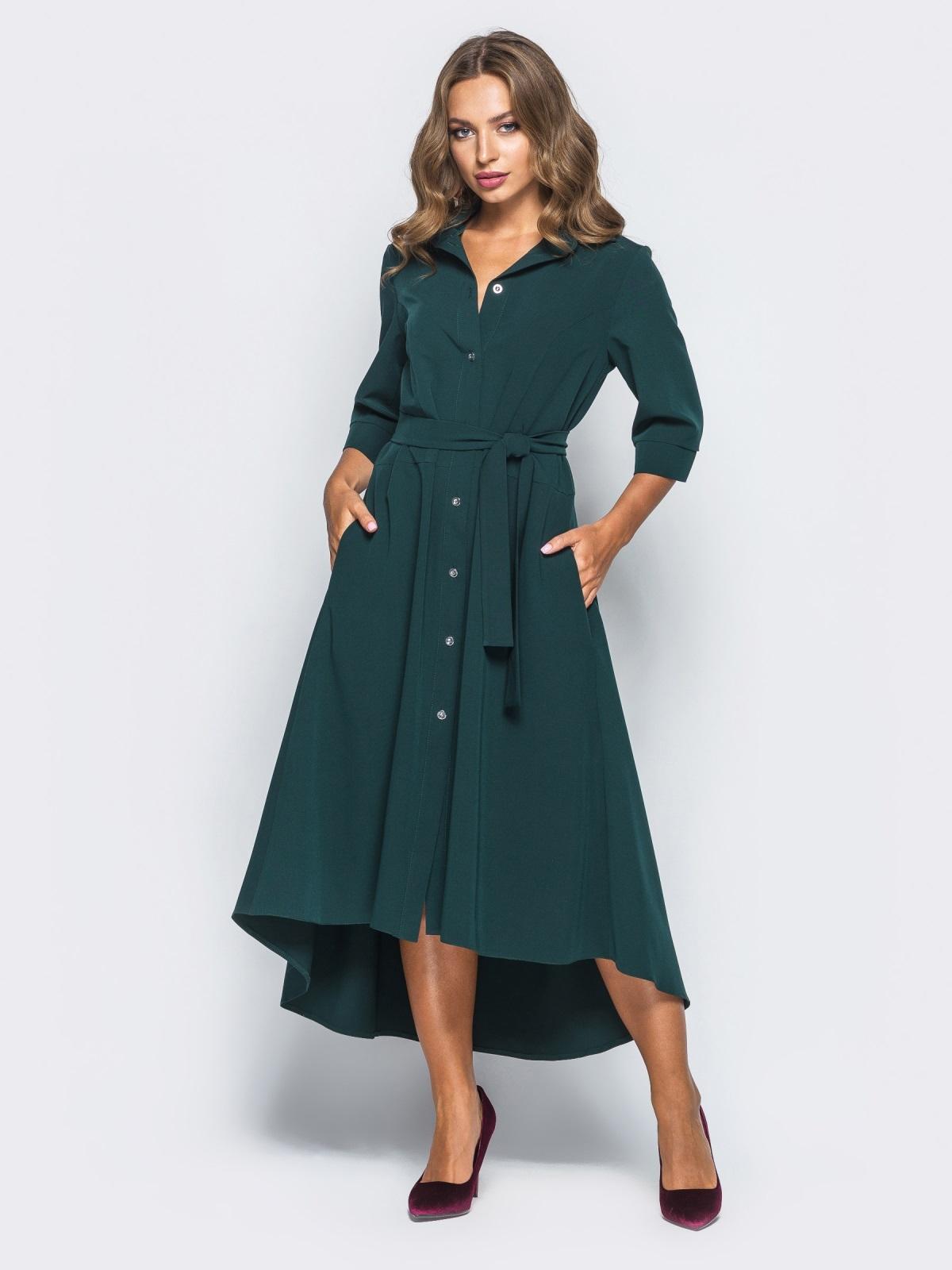 Платье-рубашка тёмно-зелёного цвета со шлейфом - 16447, фото 1 – интернет-магазин Dressa