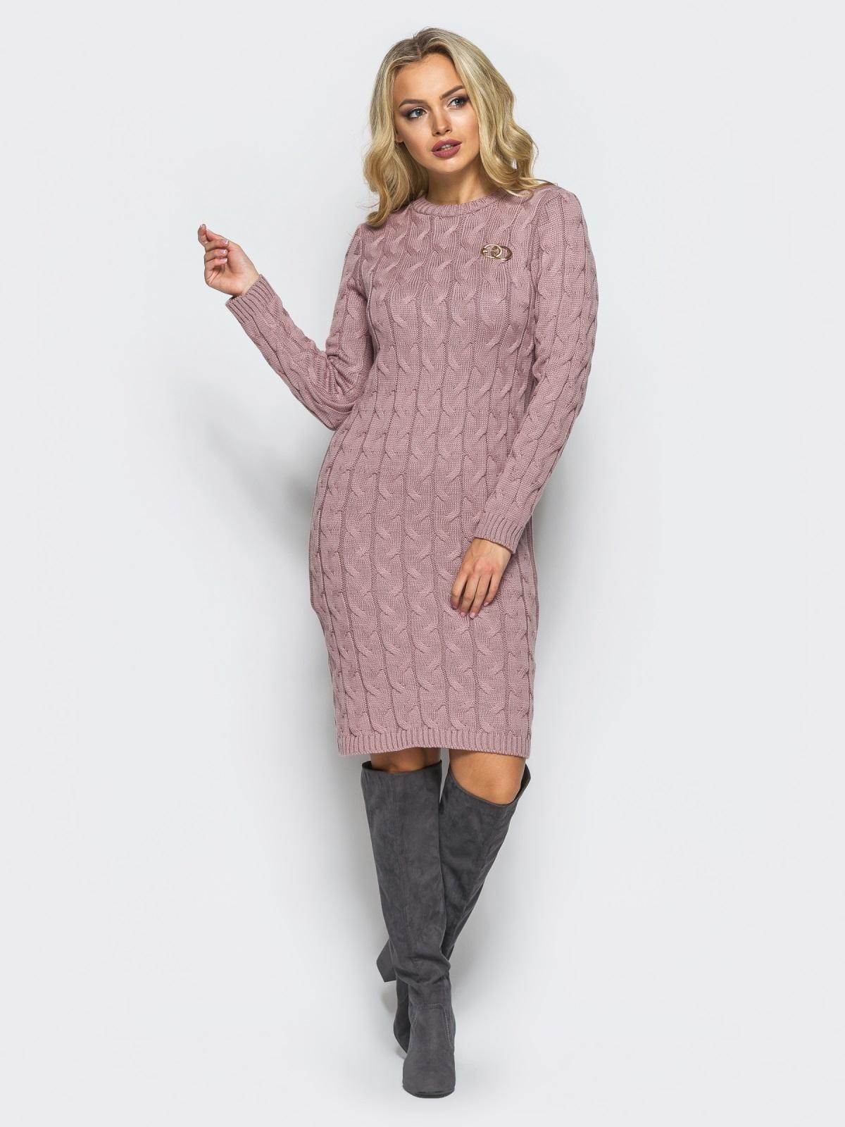 Розовое вязаное платье с фурнитурой на полочке - 15912, фото 1 – интернет-магазин Dressa