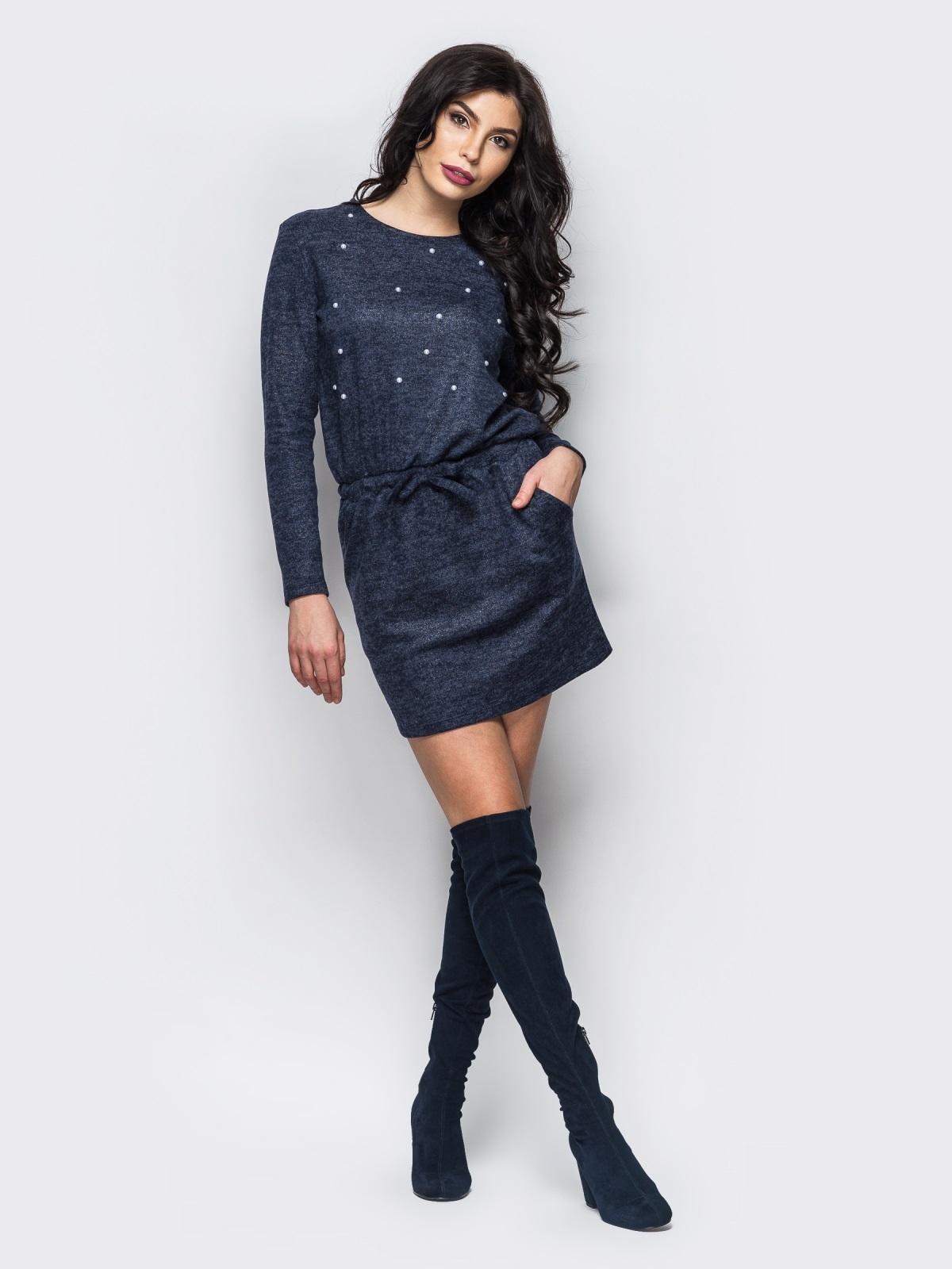Тёмно-синее трикотажное платье с кулиской - 13471, фото 1 – интернет-магазин Dressa