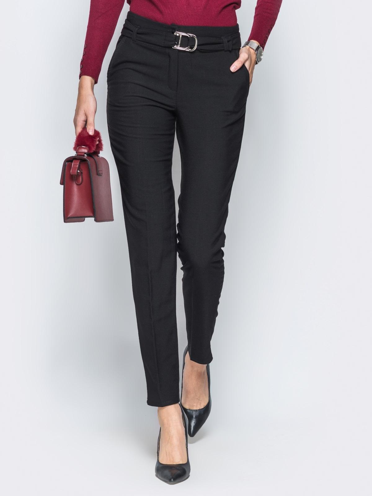 Брюки черного цвета на флисе с поясом в комплекте - 17741, фото 1 – интернет-магазин Dressa