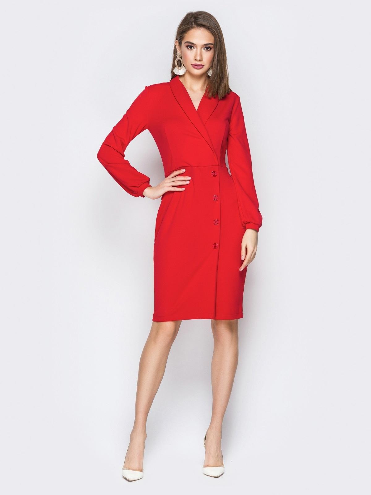 d4bd4239c69 Красное платье отрезное по талии с фиксированным запахом 20005 ...