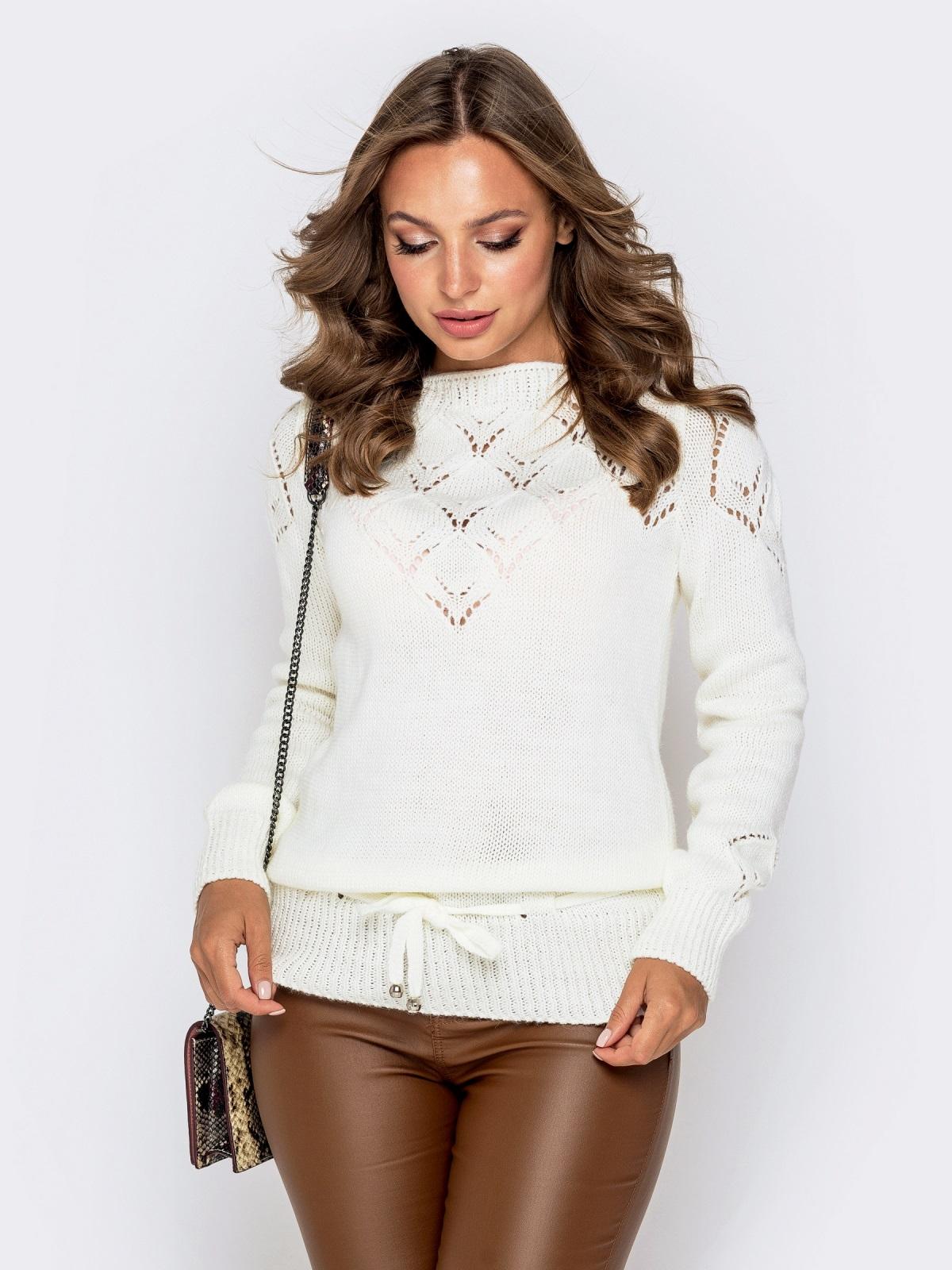 Ажурный свитер с кулиской по низу молочный - 41164, фото 1 – интернет-магазин Dressa