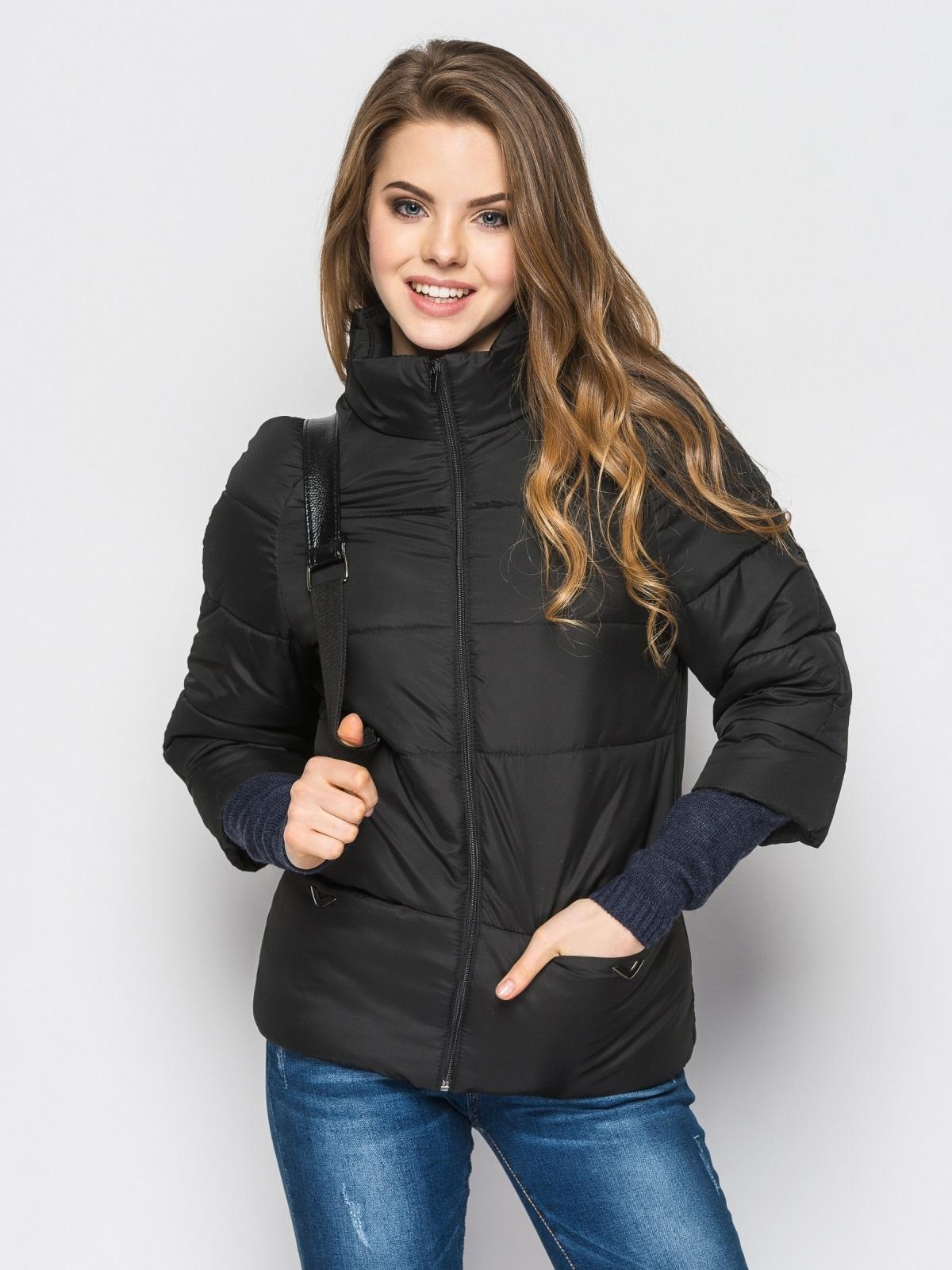 Черная куртка на силиконе с рукавом 3/4 - 12951, фото 1 – интернет-магазин Dressa
