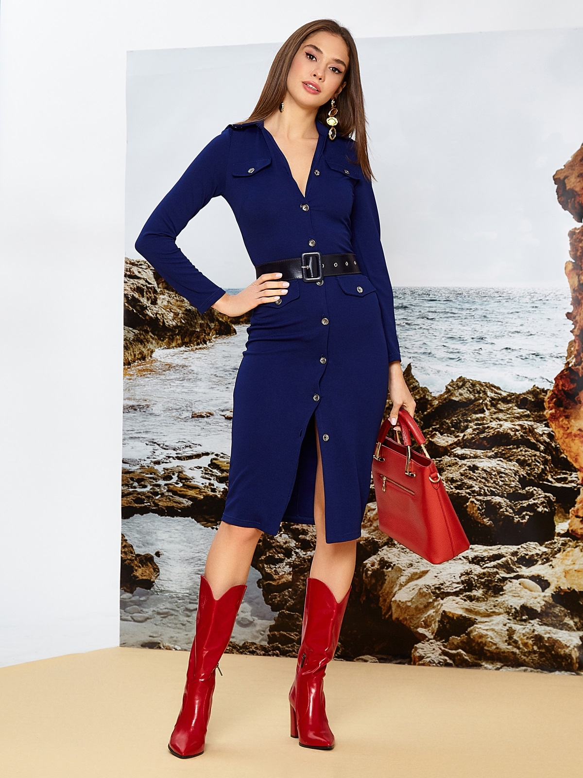 Приталенное платье-миди на пуговицах с поясом синее - 42244, фото 1 – интернет-магазин Dressa