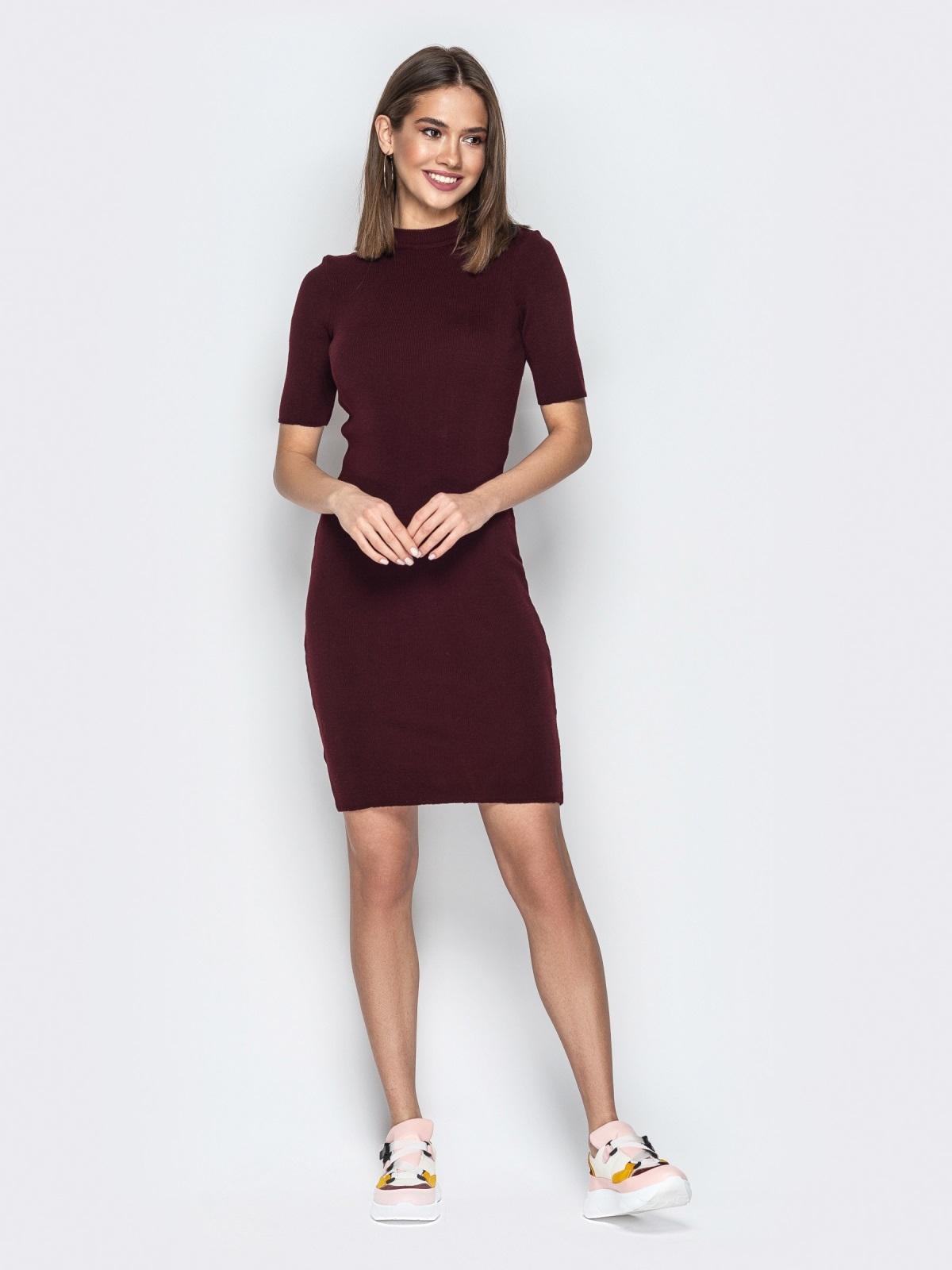 8545b95c8af Трикотажное платье-гольф с коротким рукавом бордовое 20822 – купить ...