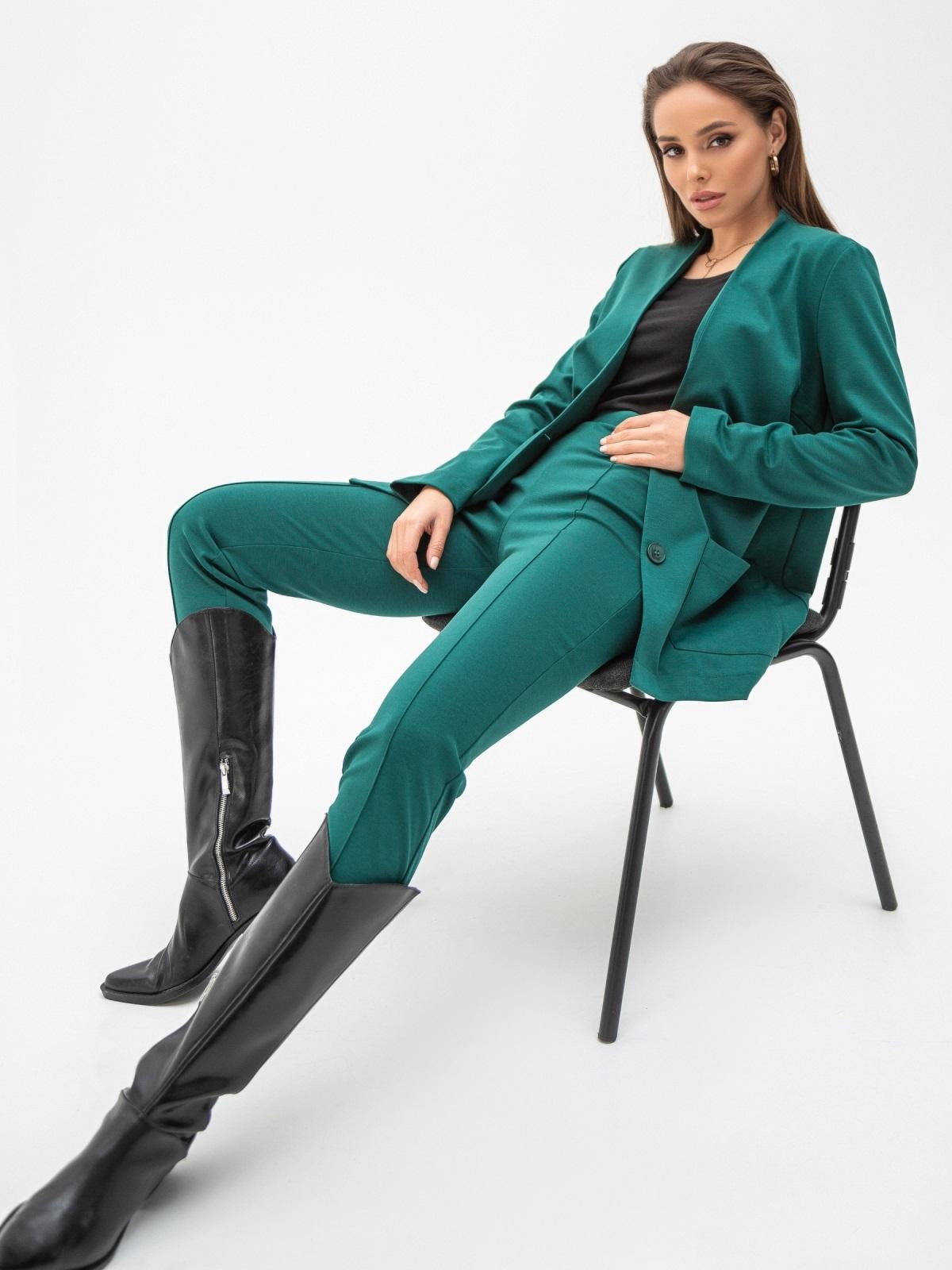 Зеленый жакет из джерси с накладными карманами 51249, фото 1
