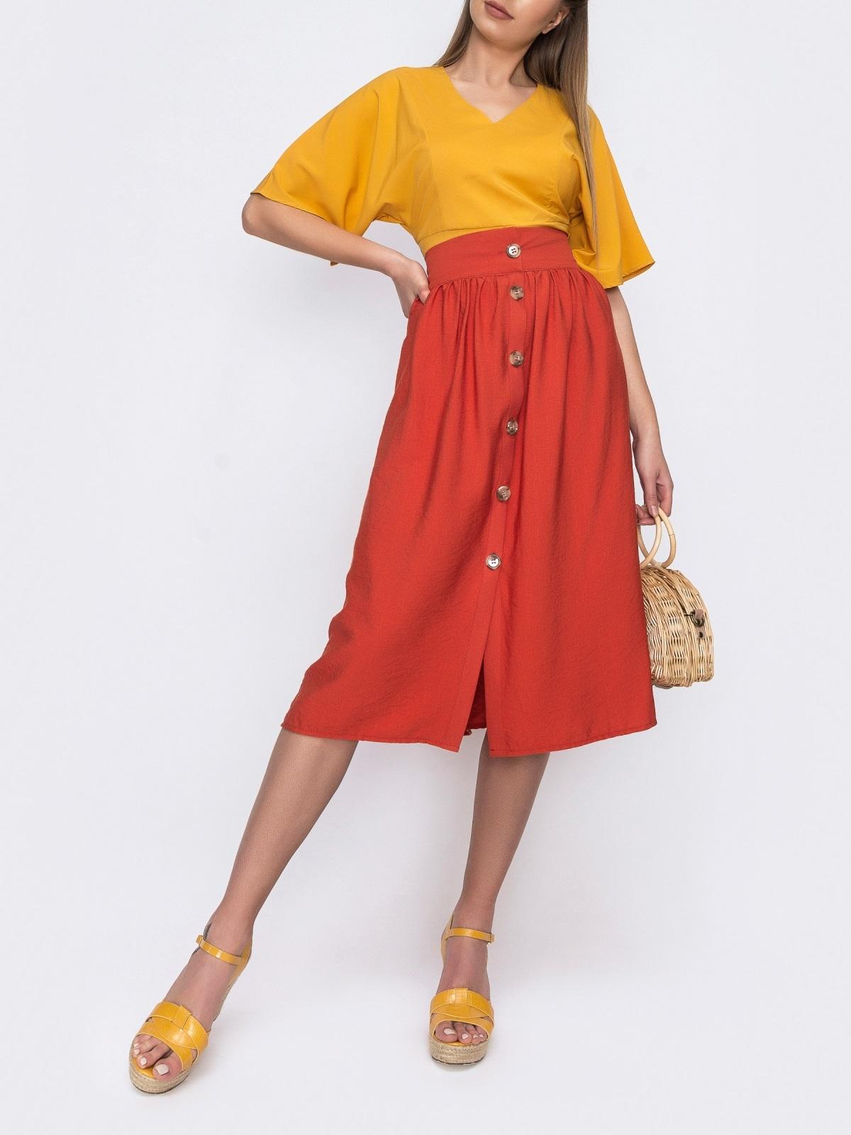Льняная юбка-миди на пуговицах терракотовая 48203, фото 1