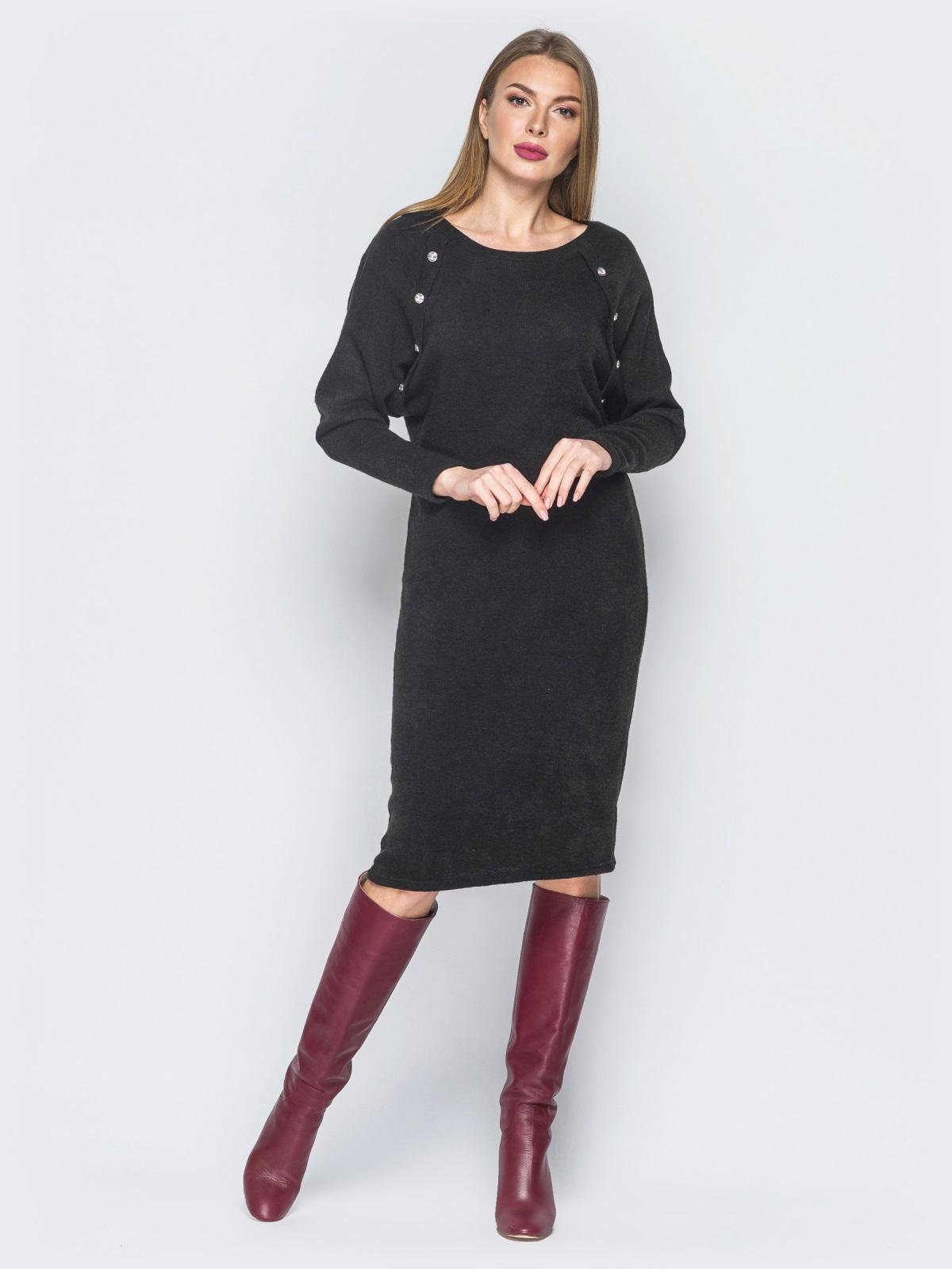 Облегающее платье черного цвета с украшением на полочке 18838, фото 1