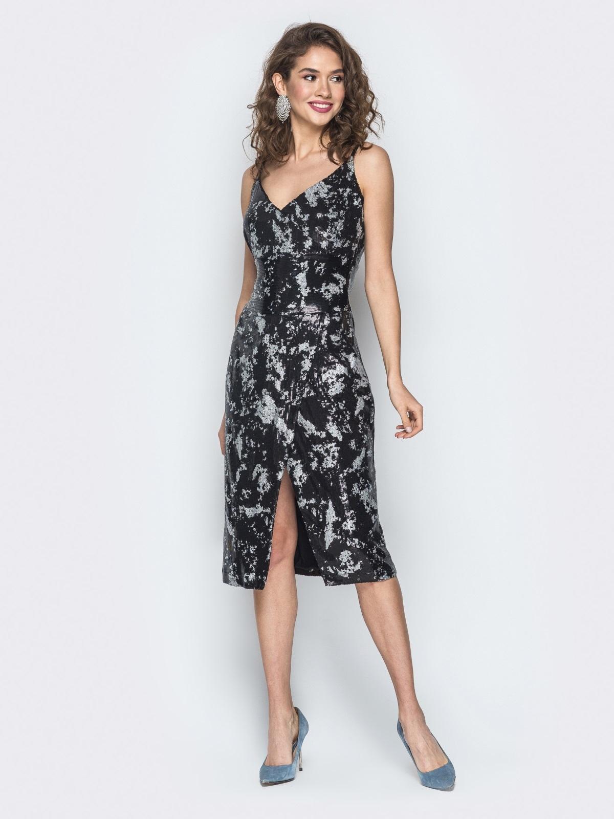 Платье с пайетками на регулируемых бретелях черное - 18604, фото 1 – интернет-магазин Dressa