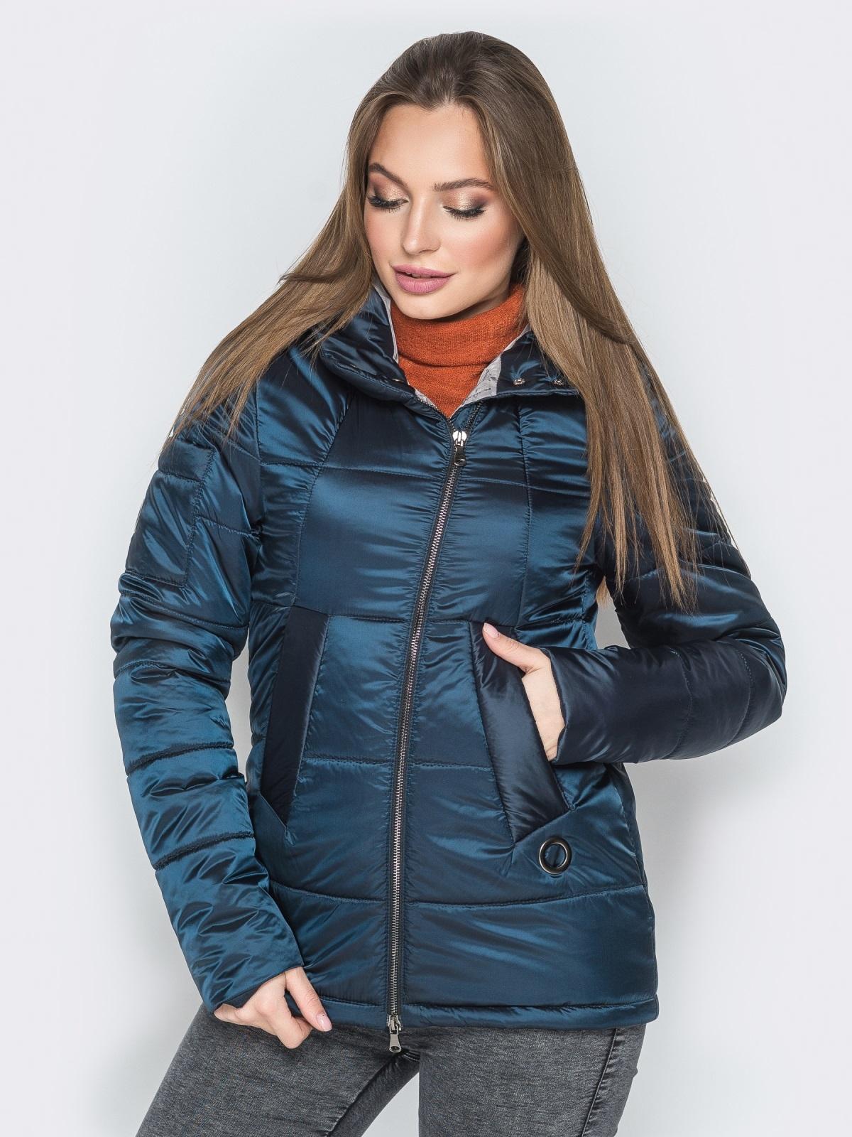 Синяя куртка на молнии со вшитым капюшоном - 20267, фото 1 – интернет-магазин Dressa