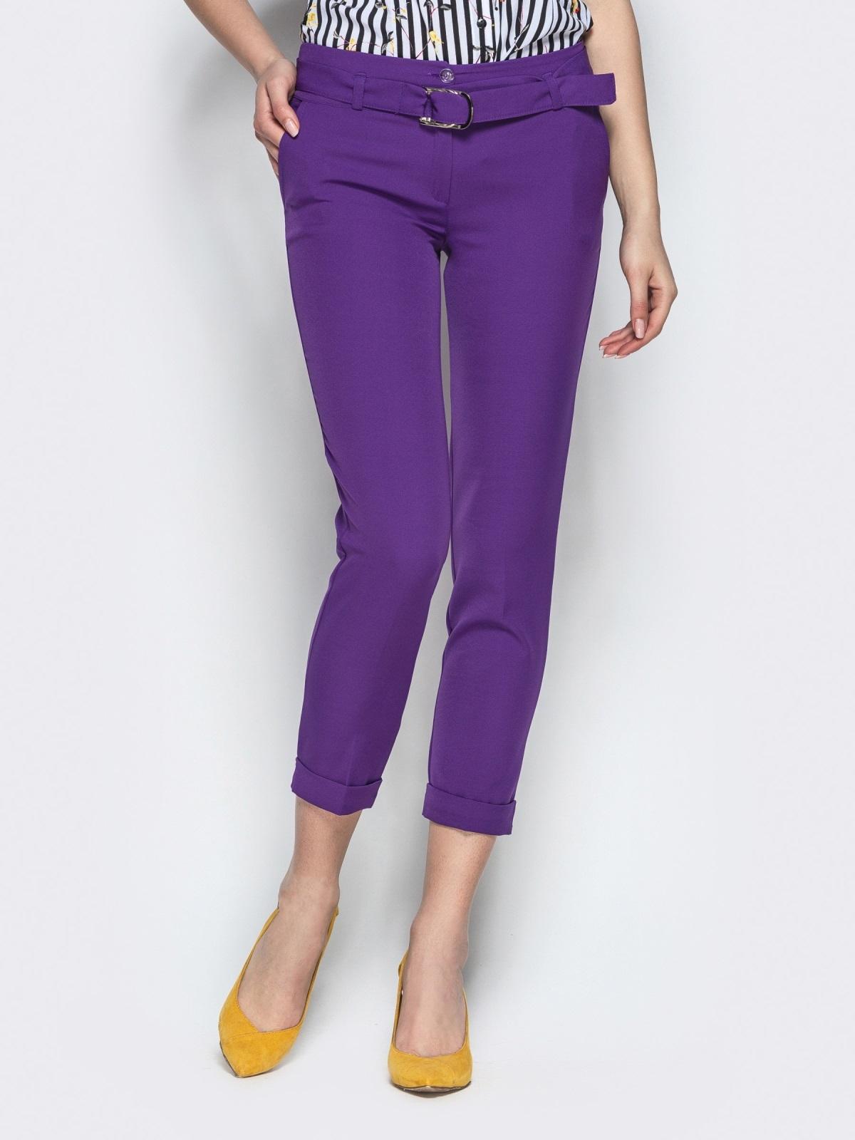 Укороченные брюки с поясом фиолетовые 21859, фото 1
