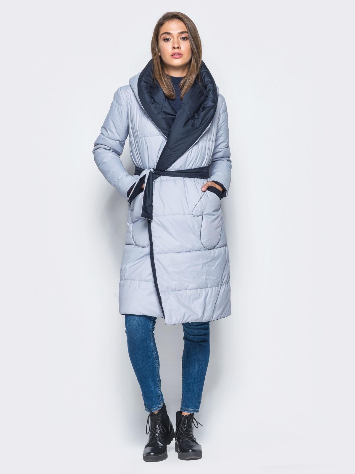 Двухсторонняя куртка с поясом в комплекте - 16737, фото 1 – интернет-магазин Dressa
