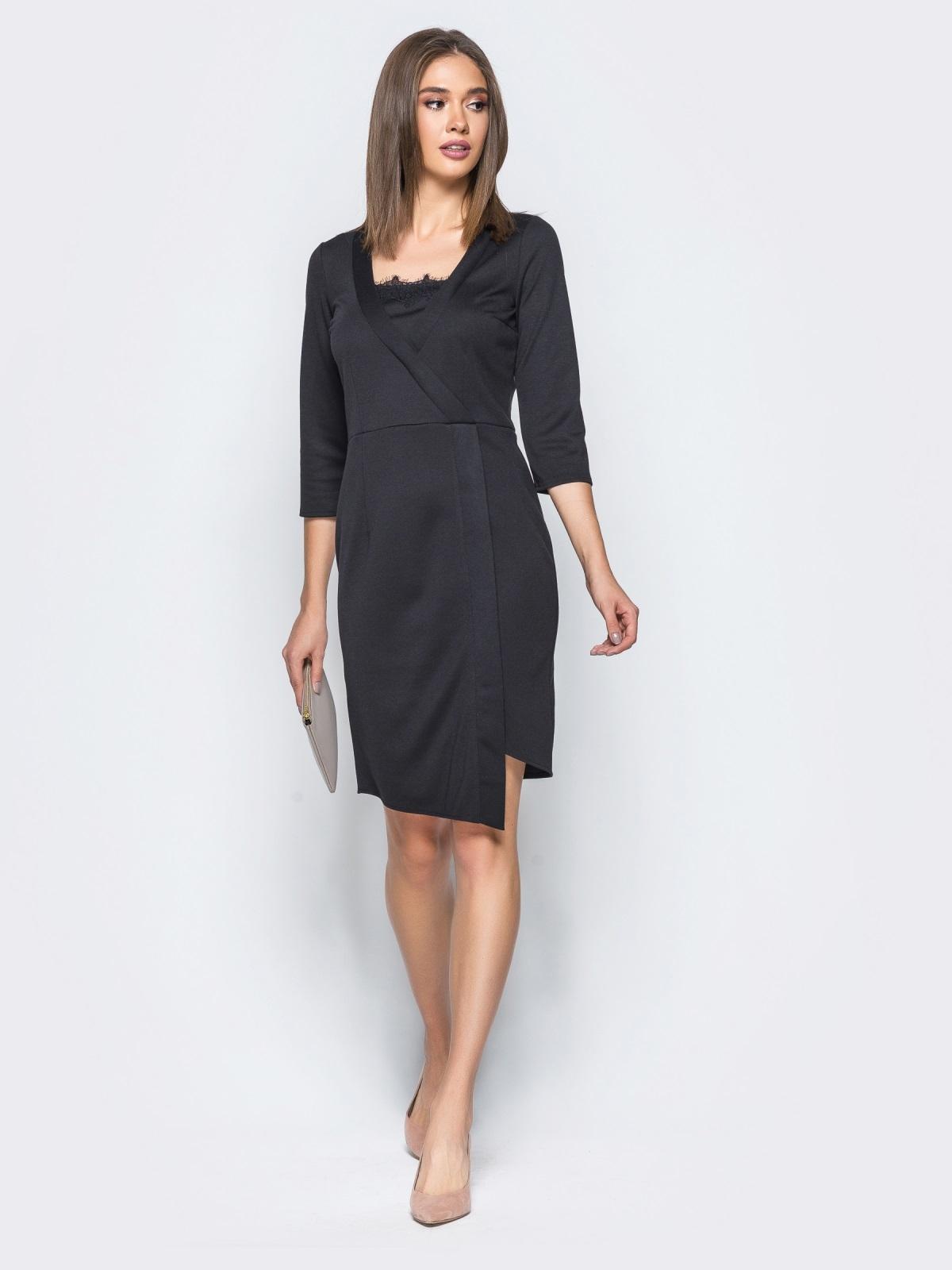 Платье черного цвета с ложным запахом и кружевом на полочке - 17106, фото 1 – интернет-магазин Dressa