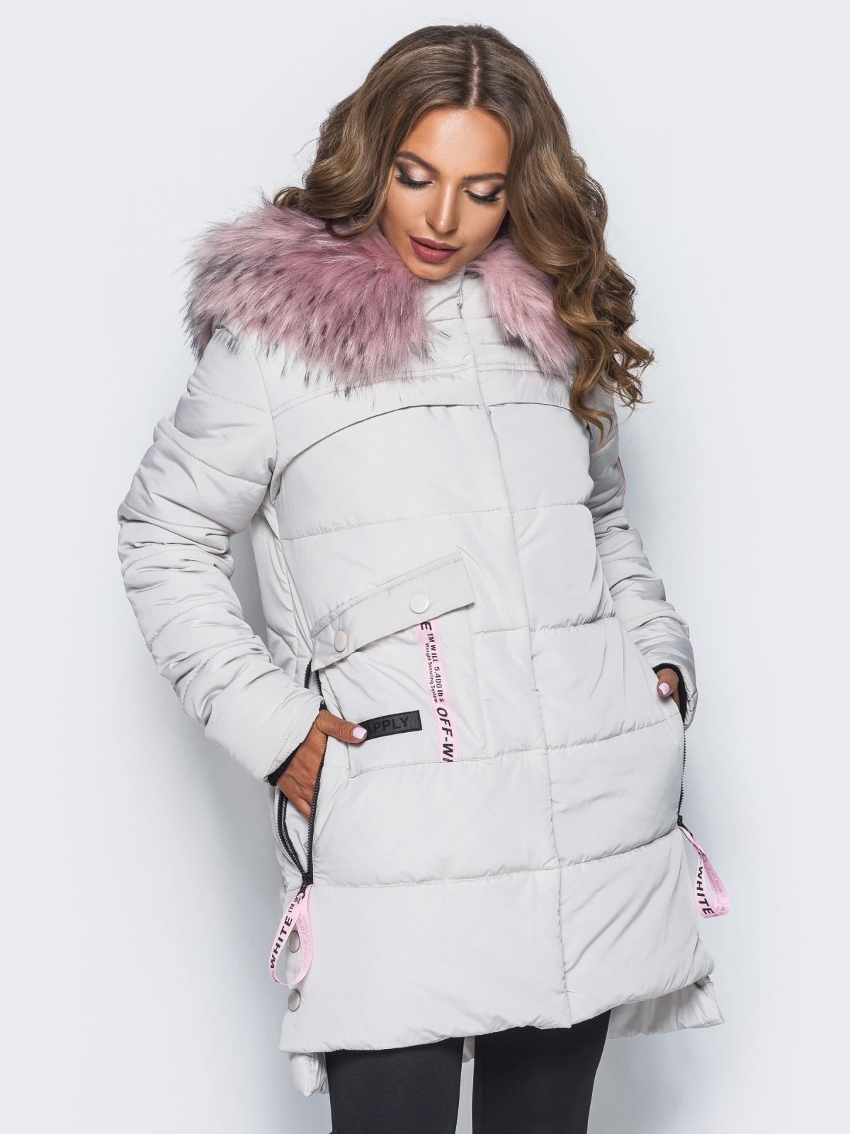 Светло-серая куртка со съемным мехом на капюшоне - 16706, фото 1 – интернет-магазин Dressa