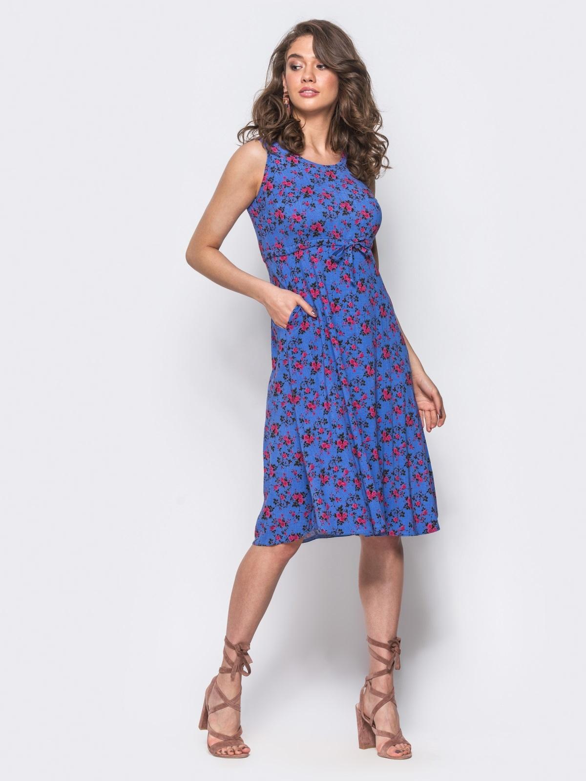 Платье с завязками на талии с флористическим принтом фиолетовое - 11587, фото 1 – интернет-магазин Dressa