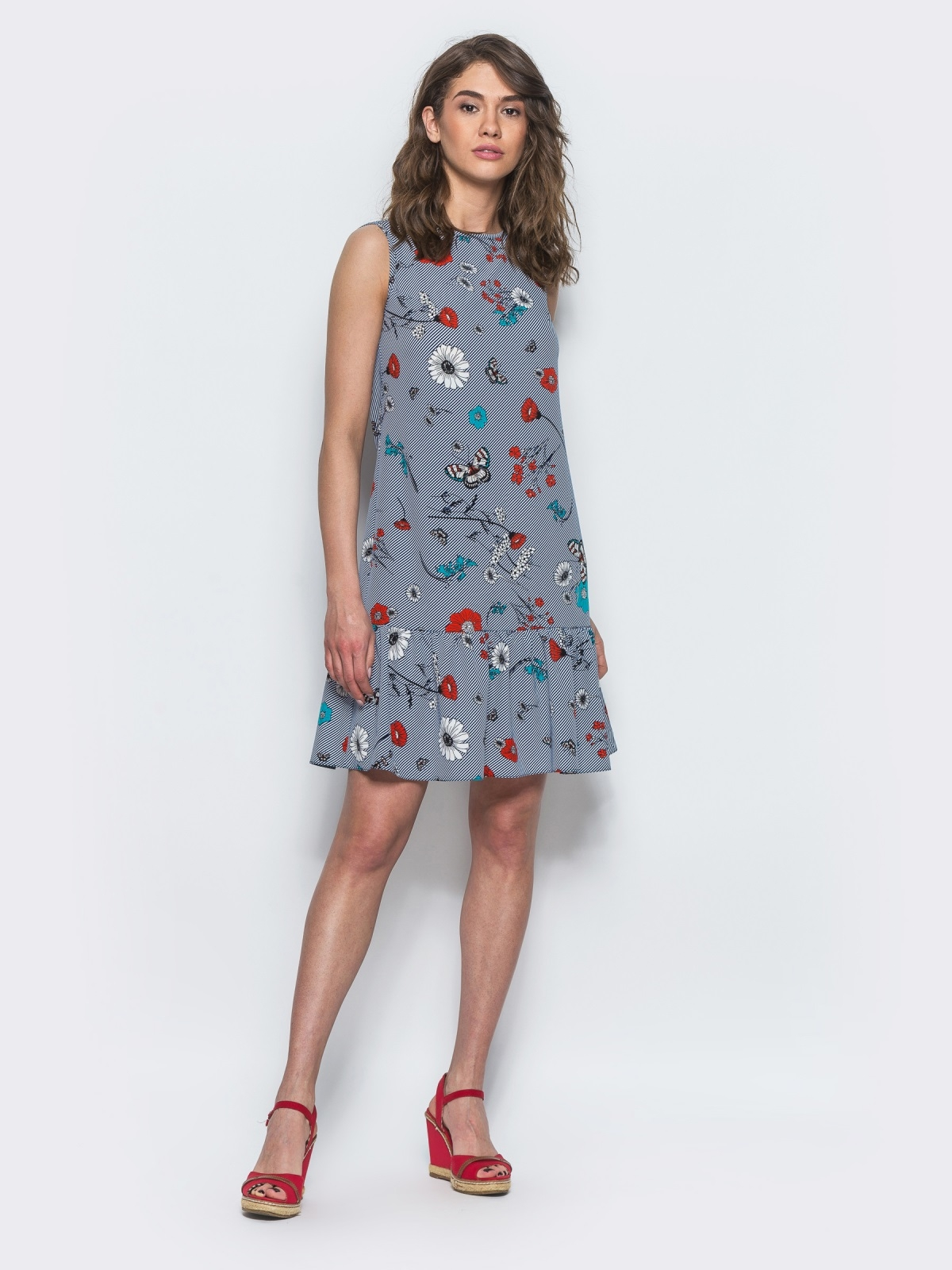 Синее принтованое платье с оборкой по низу - 13399, фото 1 – интернет-магазин Dressa