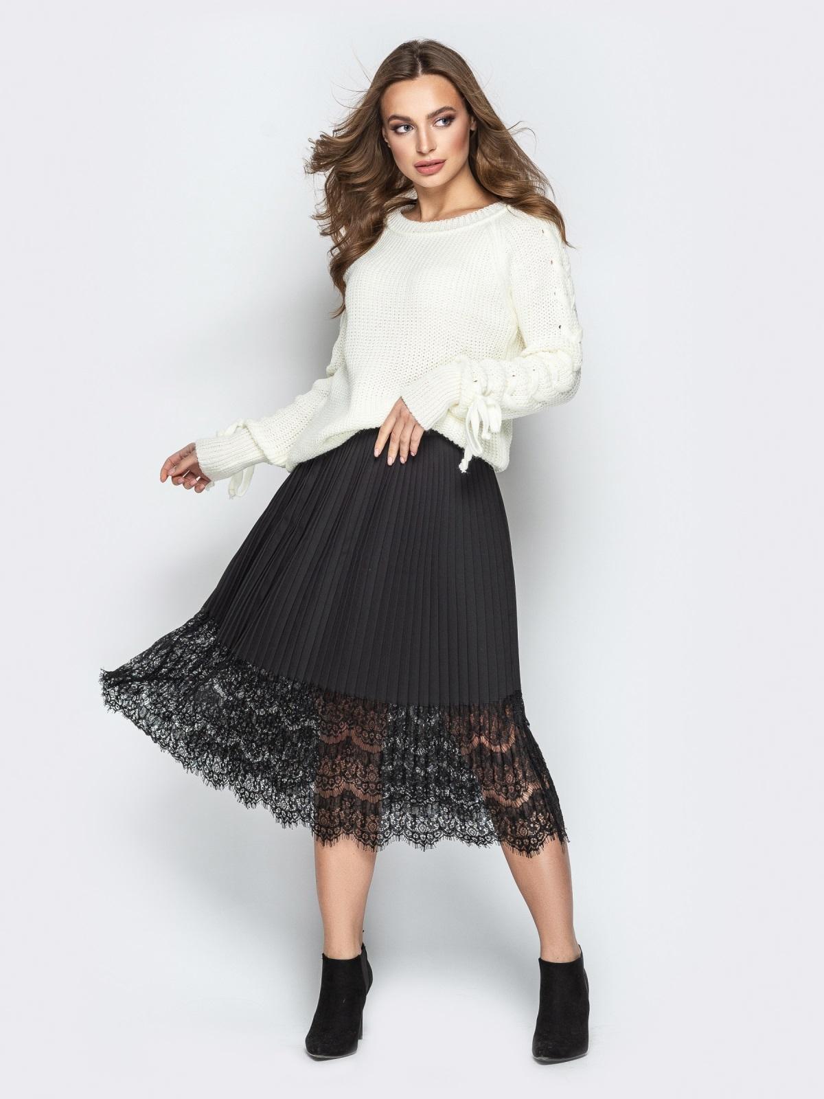Белый свитер с рукавами-реглан и прошитыми косами - 20134, фото 1 – интернет-магазин Dressa