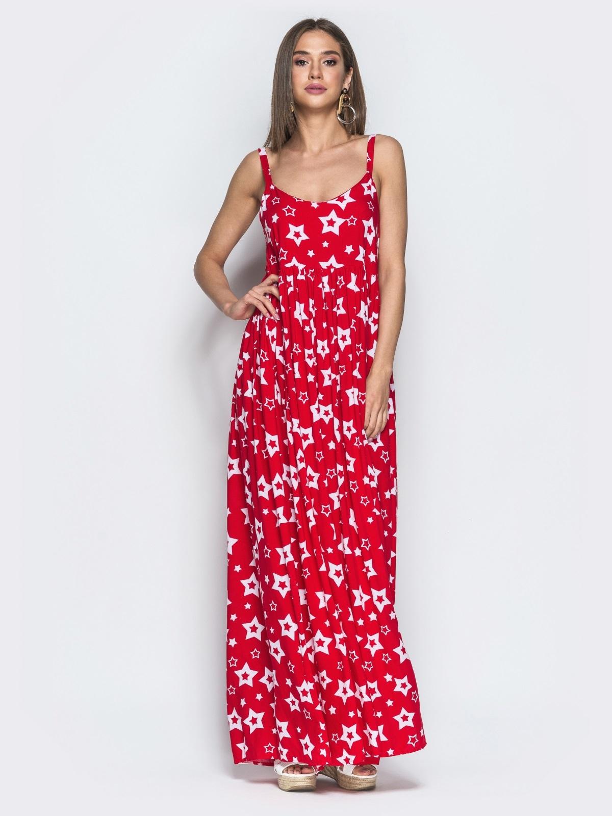 Принтованный сарафан красного цвета с завышенной талией - 39593, фото 1 – интернет-магазин Dressa