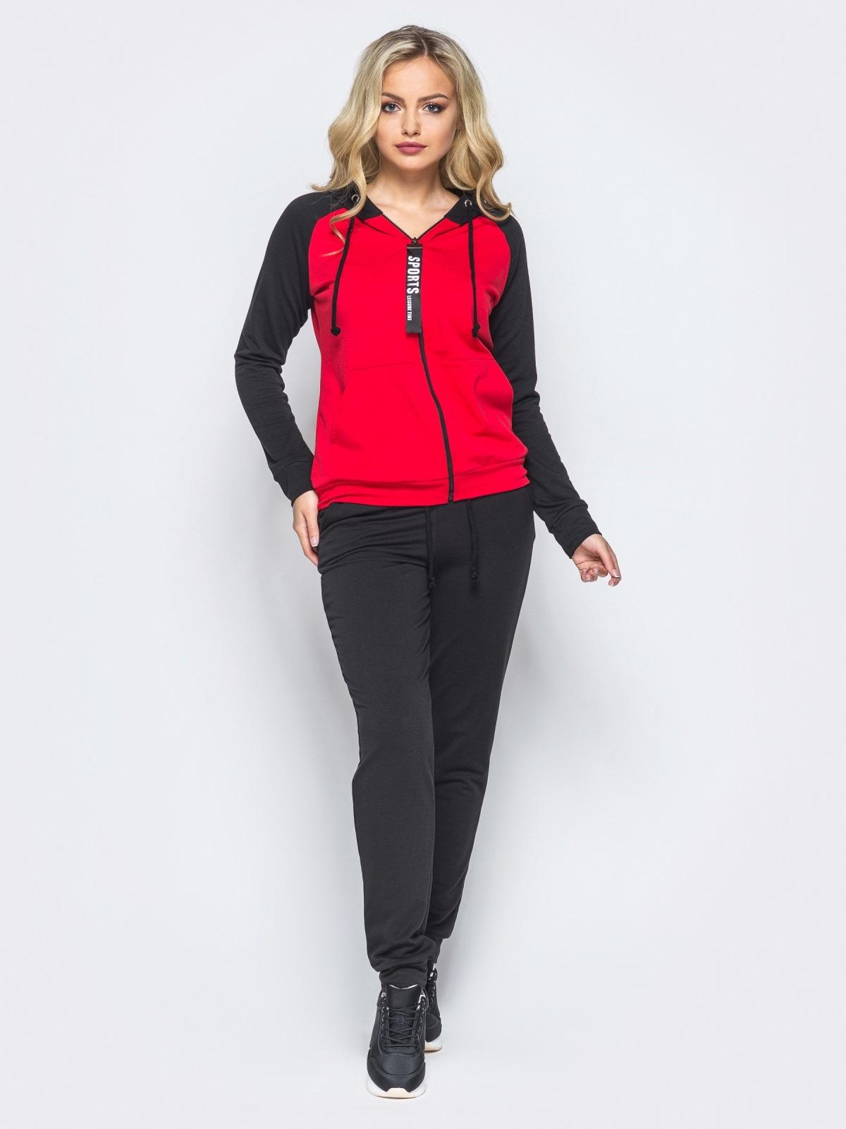 Спортивный костюм с красной кофтой на молнии - 16527, фото 1 –  интернет-магазин e850fee4000