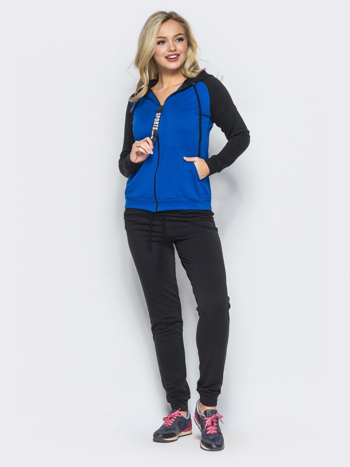 Спортивный костюм с синей кофтой на молнии - 16526, фото 1 – интернет-магазин Dressa