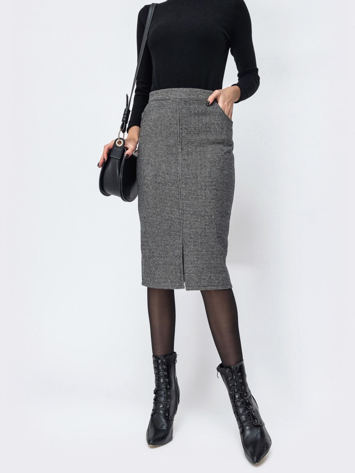 Тёмно-серая юбка-карандаш с разрезом спереди 44169, фото 1