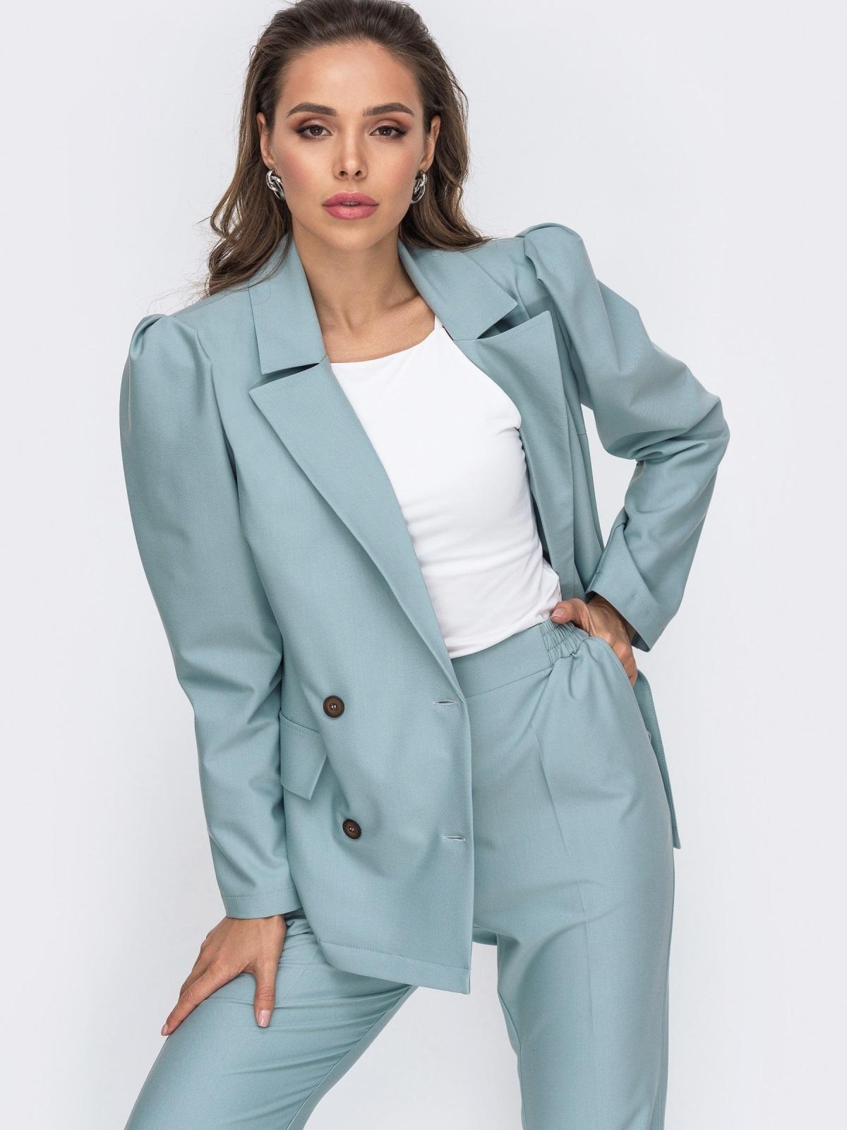 Брючный комплект с двубортным пиджаком мятный 50663, фото 1
